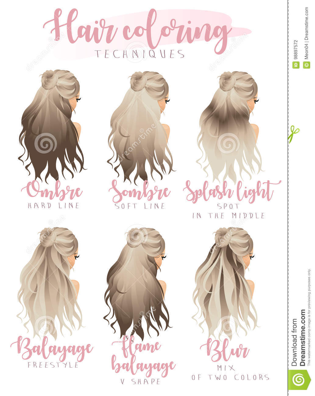 Hair coloring techniques stock vector. Illustration of human - 98897572