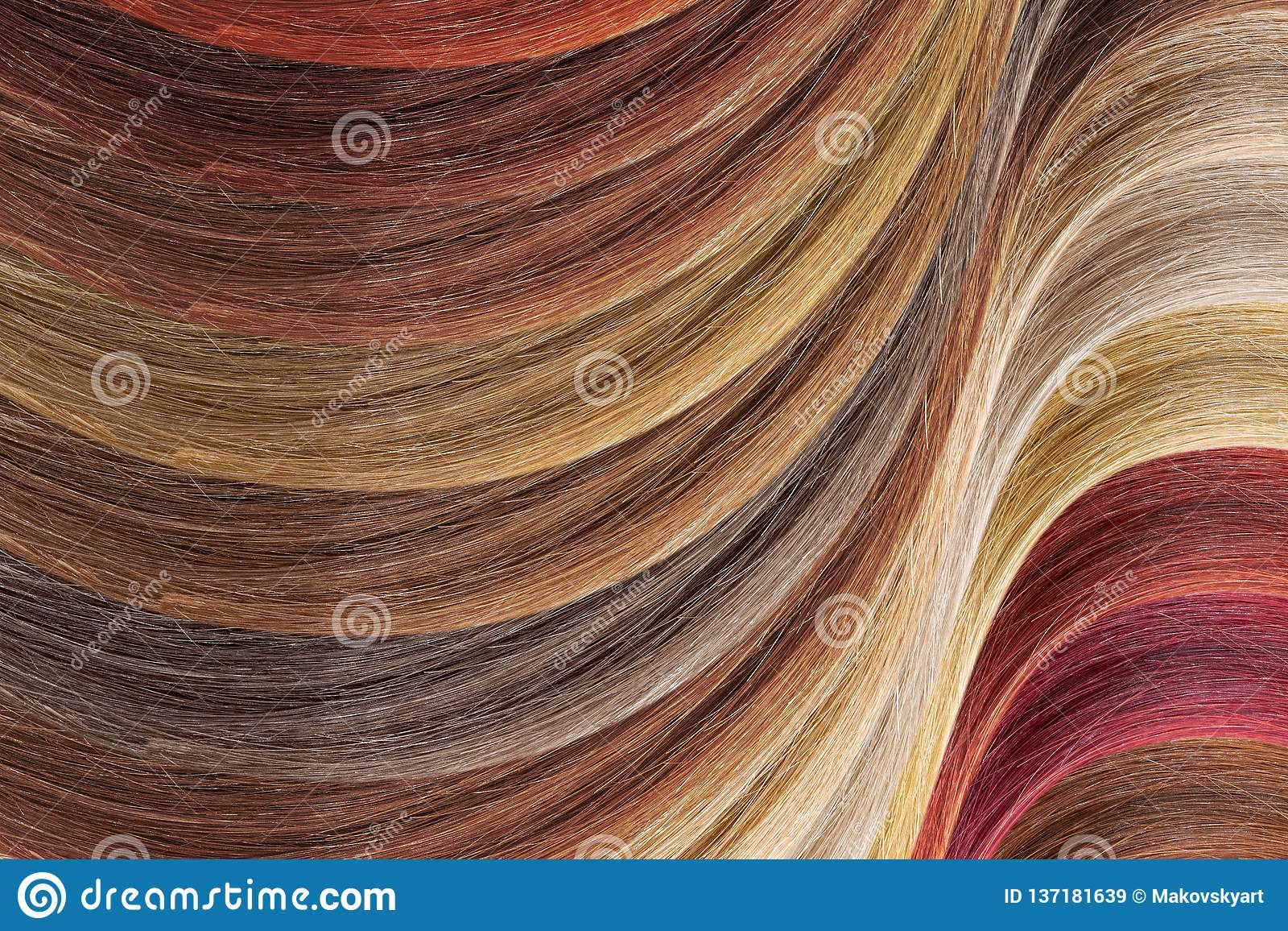 Hair colors palette as background. Dyed samples