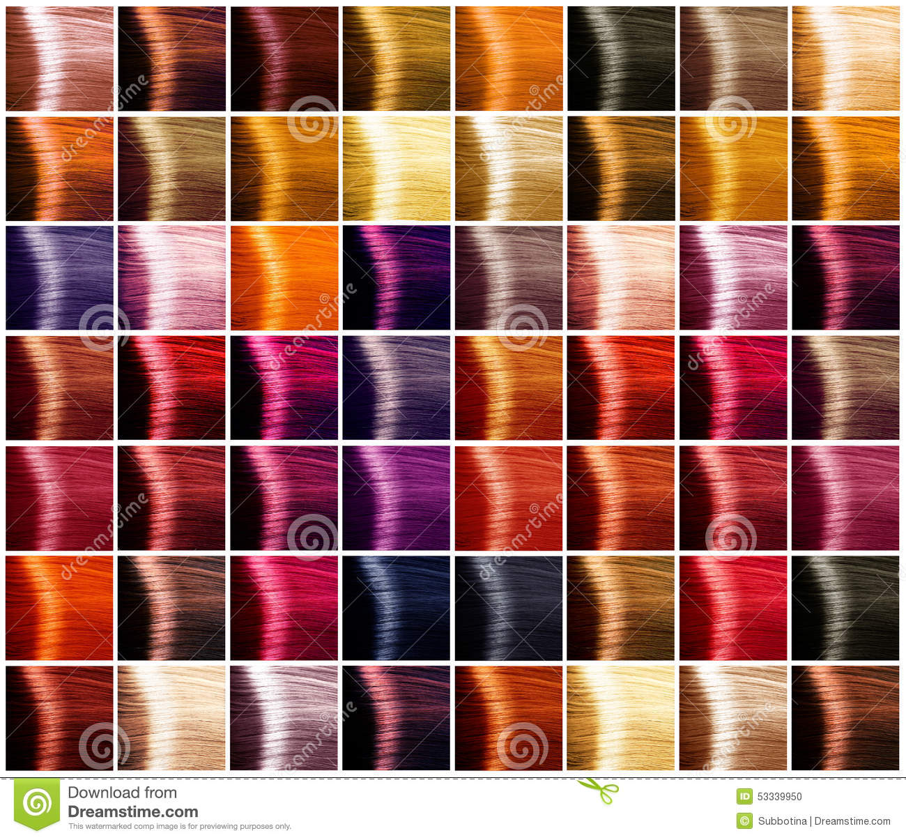Hair colors palette. Tints stock photo. Image of dark - 53339950