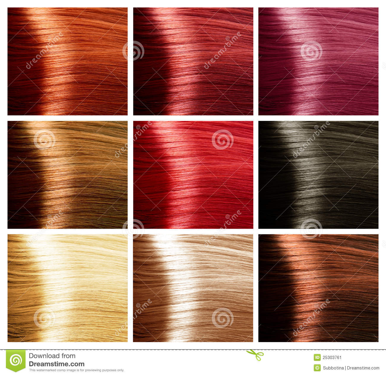 Hair Colors Set Tints Stock Image Image 25303761