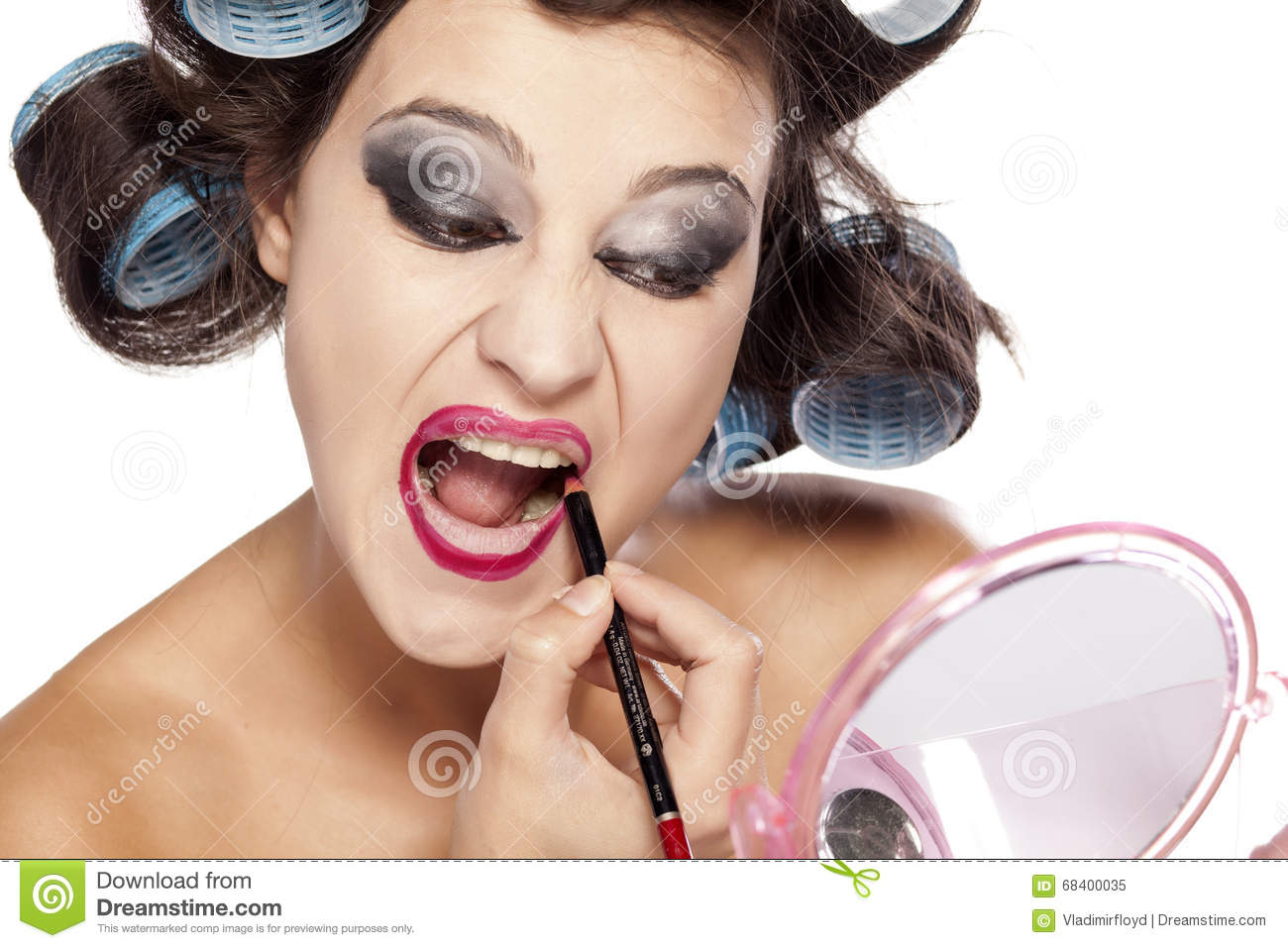 Hair Curlers And Bad Make Up Stock Image Image Of Girl Makeup
