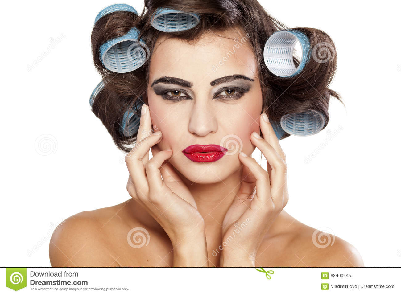 Naked girl in curlers