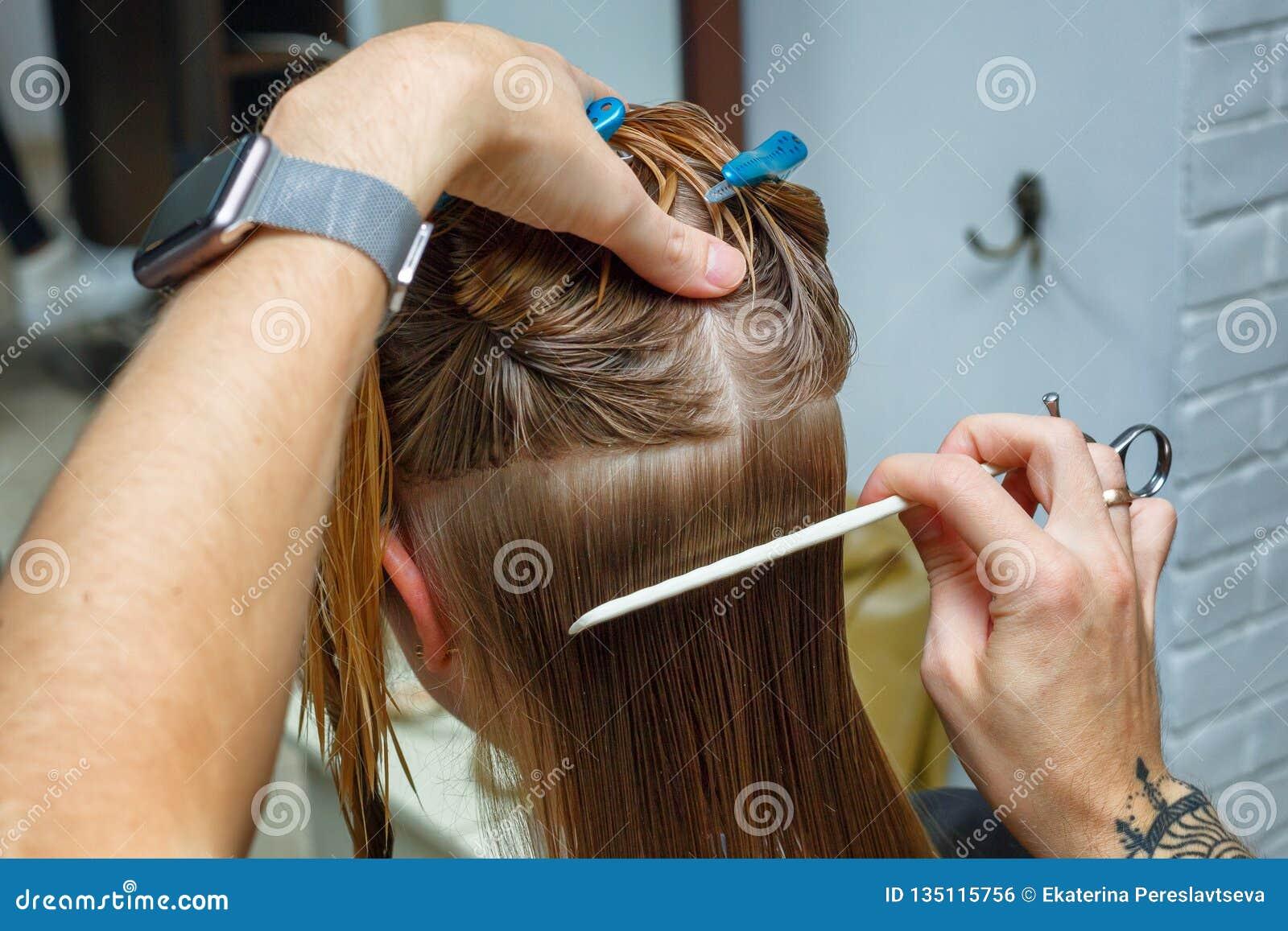 Hair cut in the hairdresser`s salon