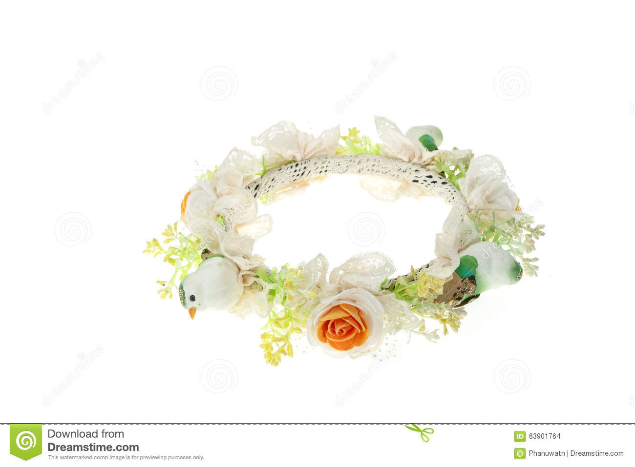 Hair Decoration Handmade Flower Crown Isolated On White Stock Photo