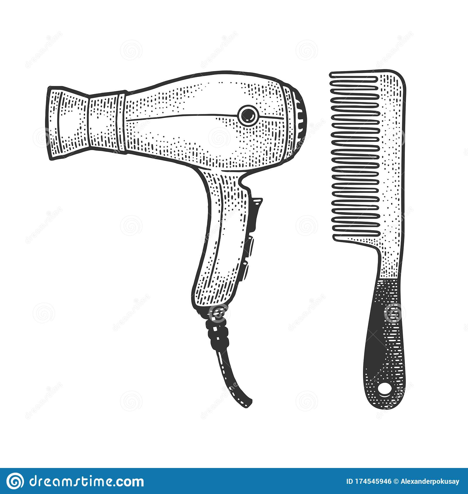 Hair Dryer And Comb Sketch Vector Illustration Stock Vector Illustration Of Sketch Drawing 174545946