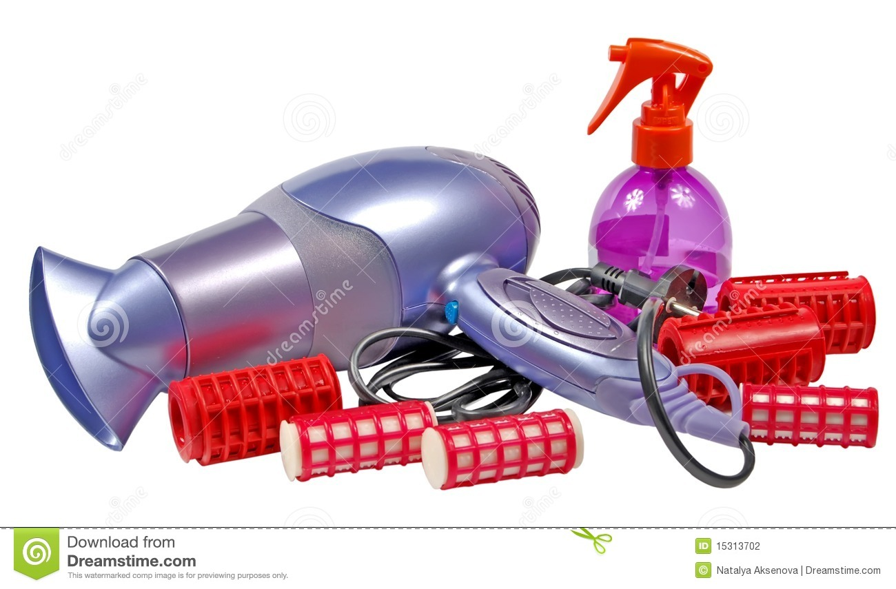 Hair dryer for drying of hair and hair curlers