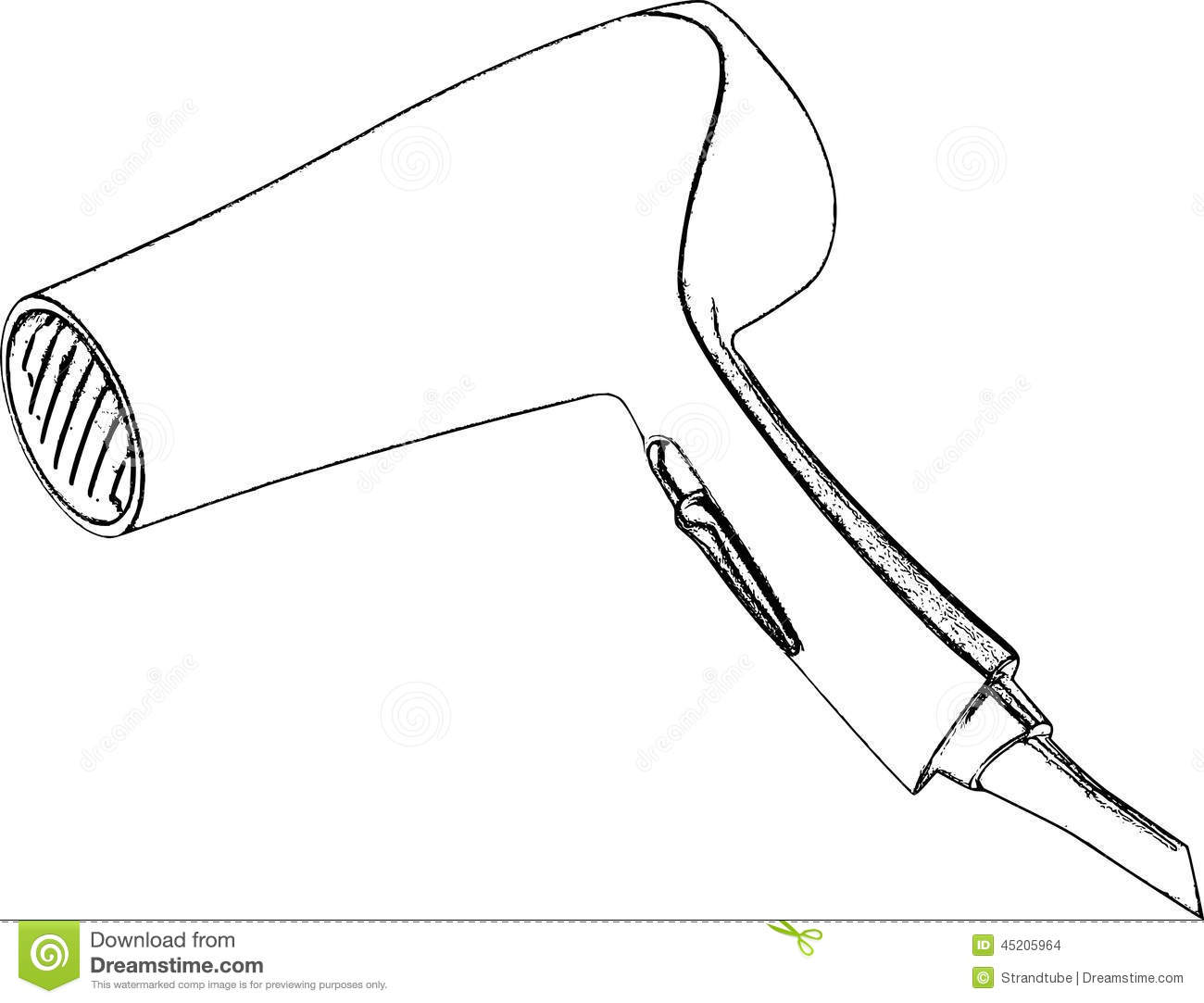 Hair Dryer Drawing ~ Stock images hair dryer line pencil sketch image
