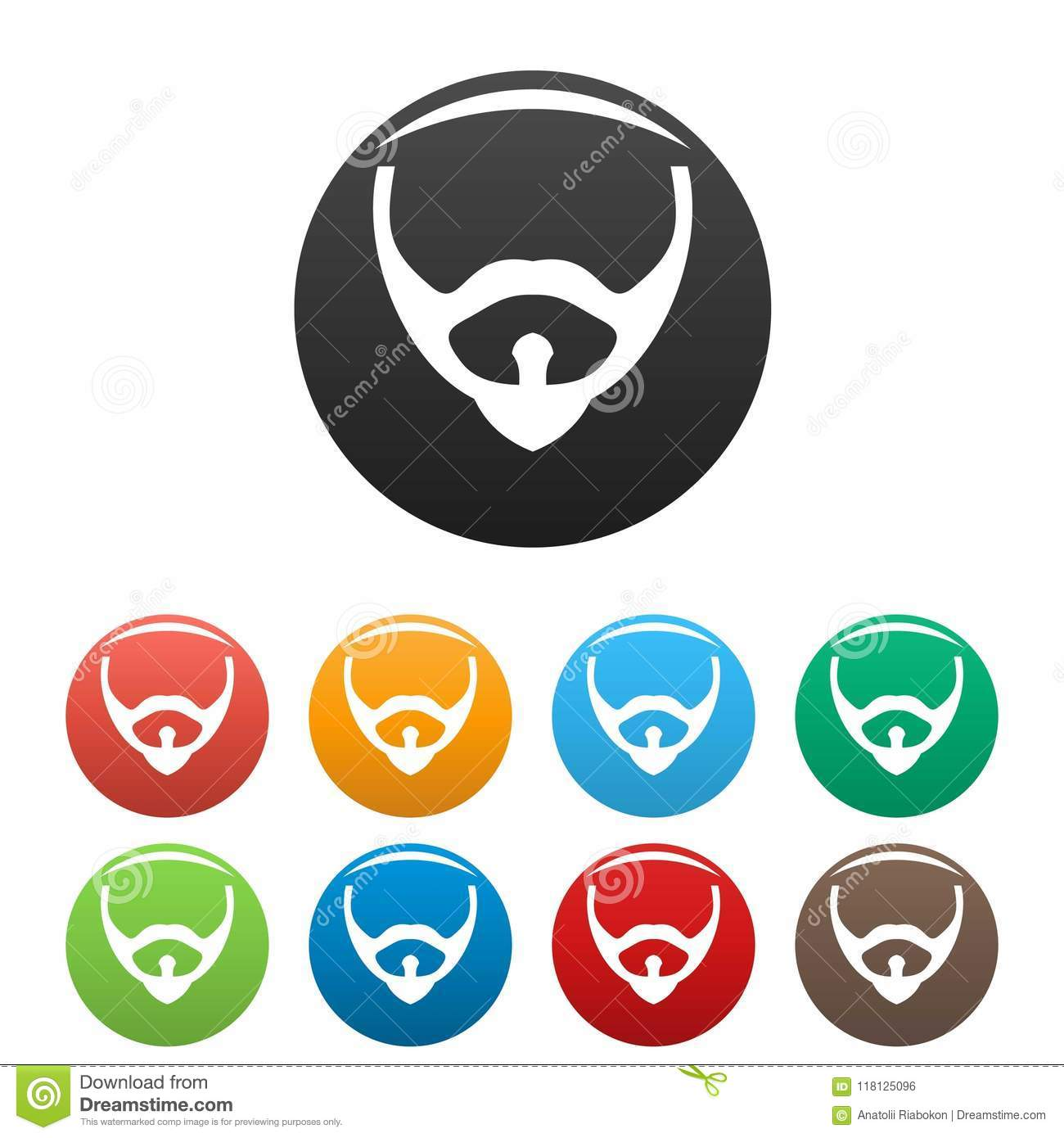Hair Face Icons Set Color Vector Stock Vector Illustration Of
