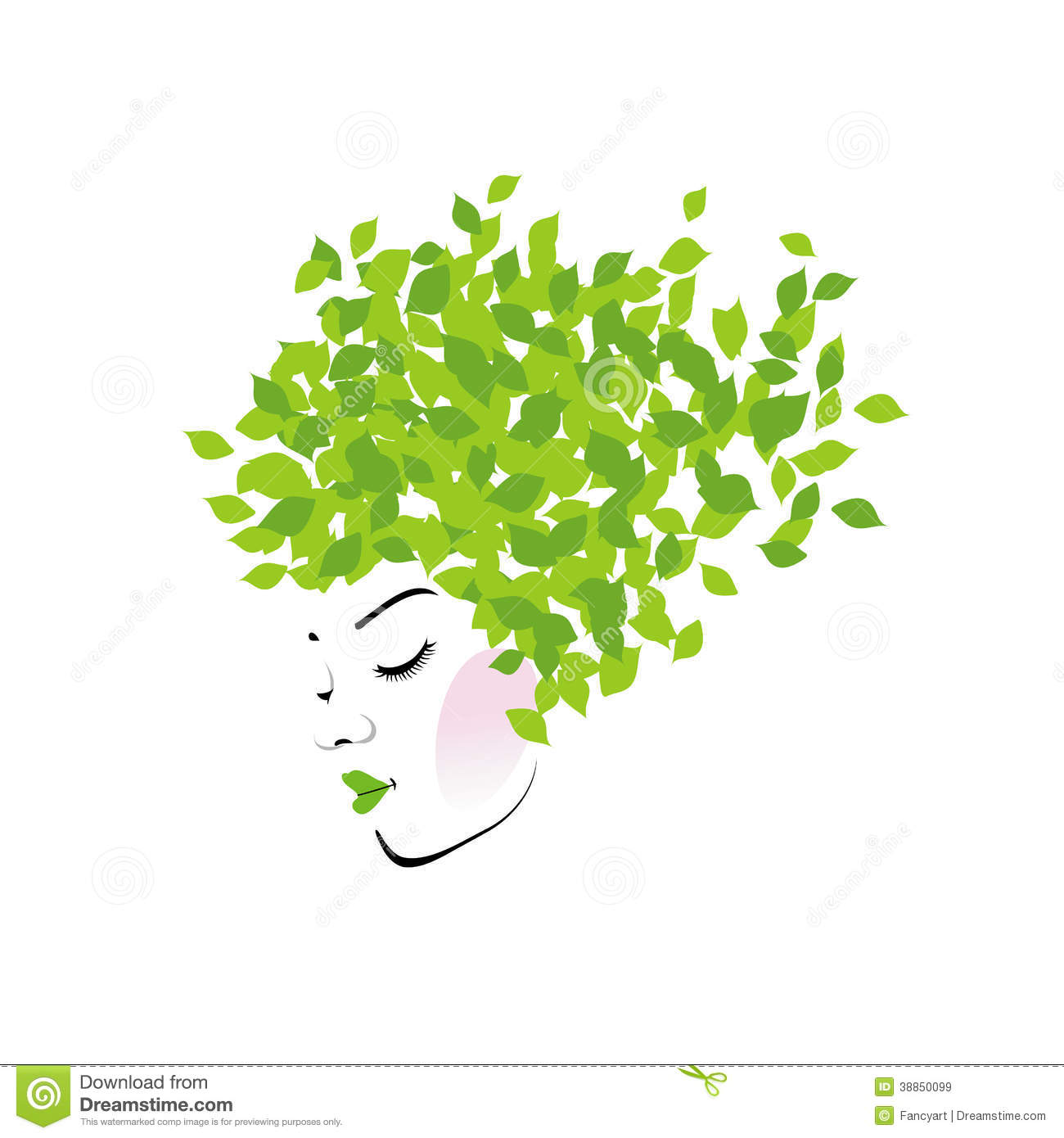 Hair With Green Leaves Stock Vector - Image: 38850099