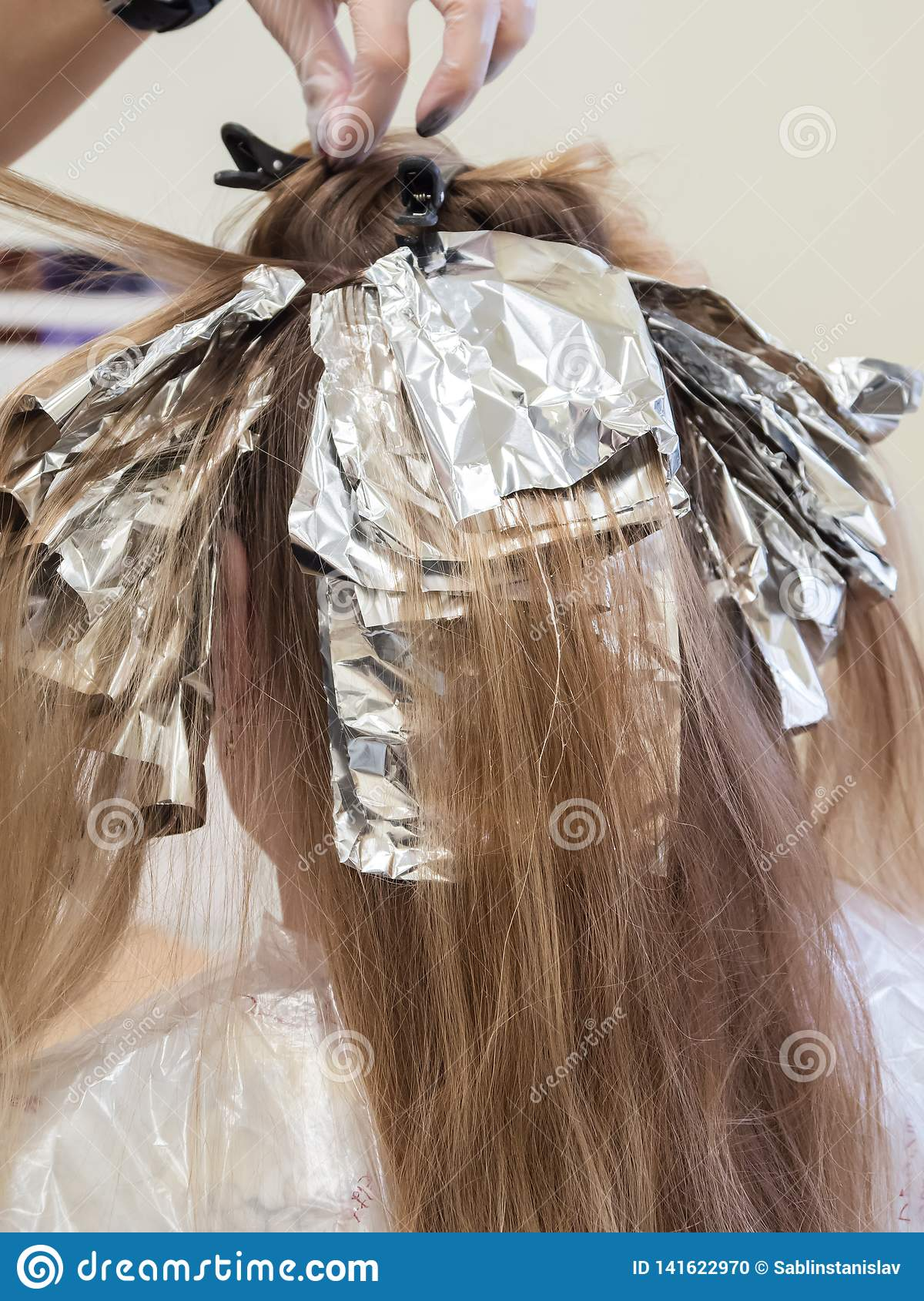 Hair Highlights In The Beauty Salon Stock Photo Image Of