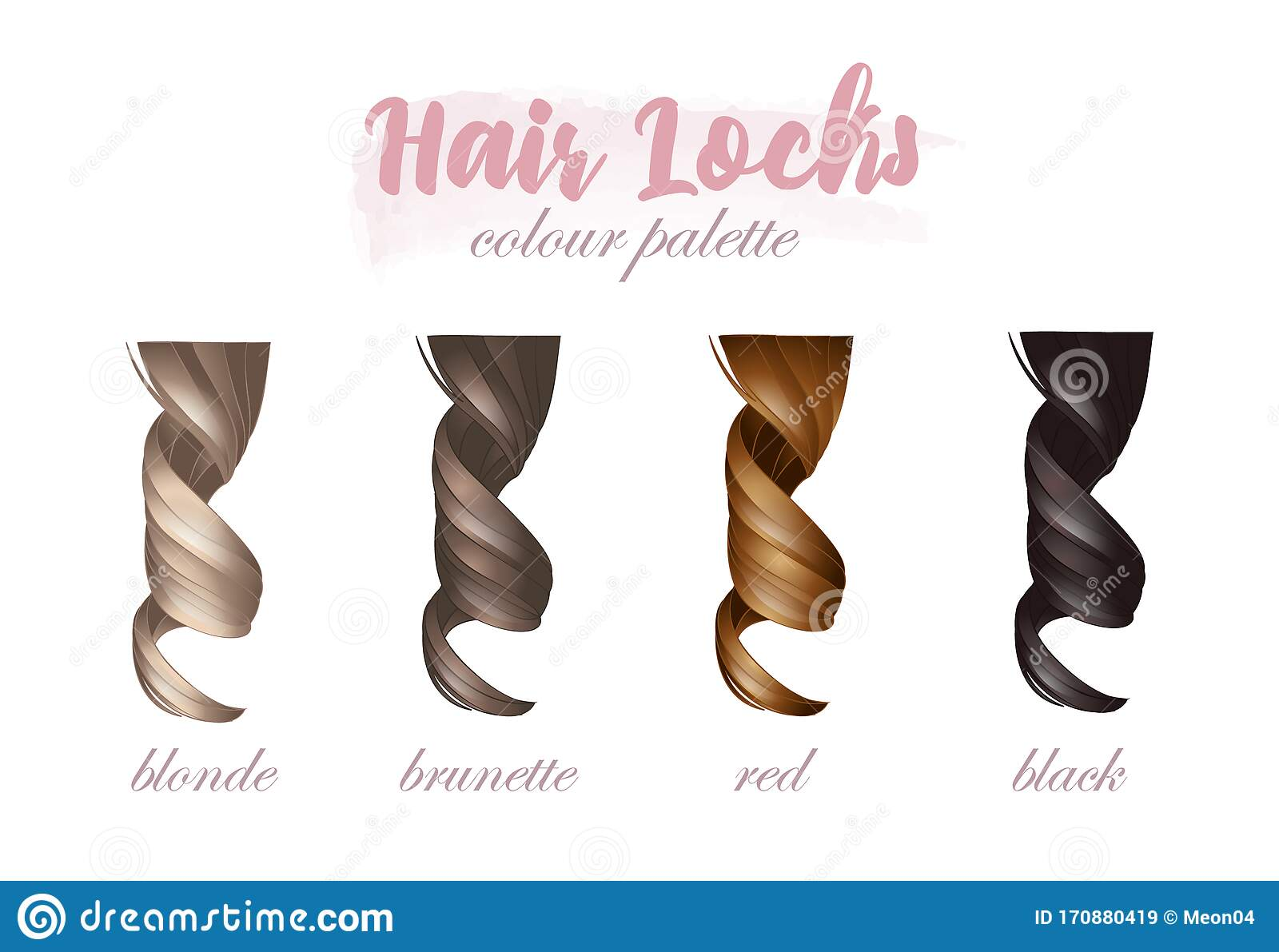 Hair Locks Colour Palette Natural Shades Stock Vector Illustration Of Bright Healthy 170880419