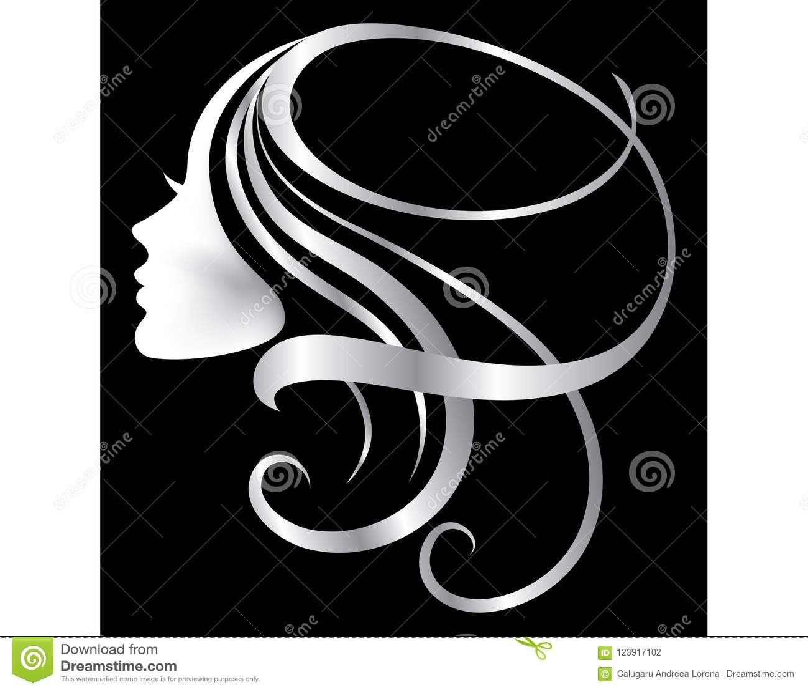 Hair Logo Icon Silver Women Face Stock Vector Illustration Of Lashes Design 123917102
