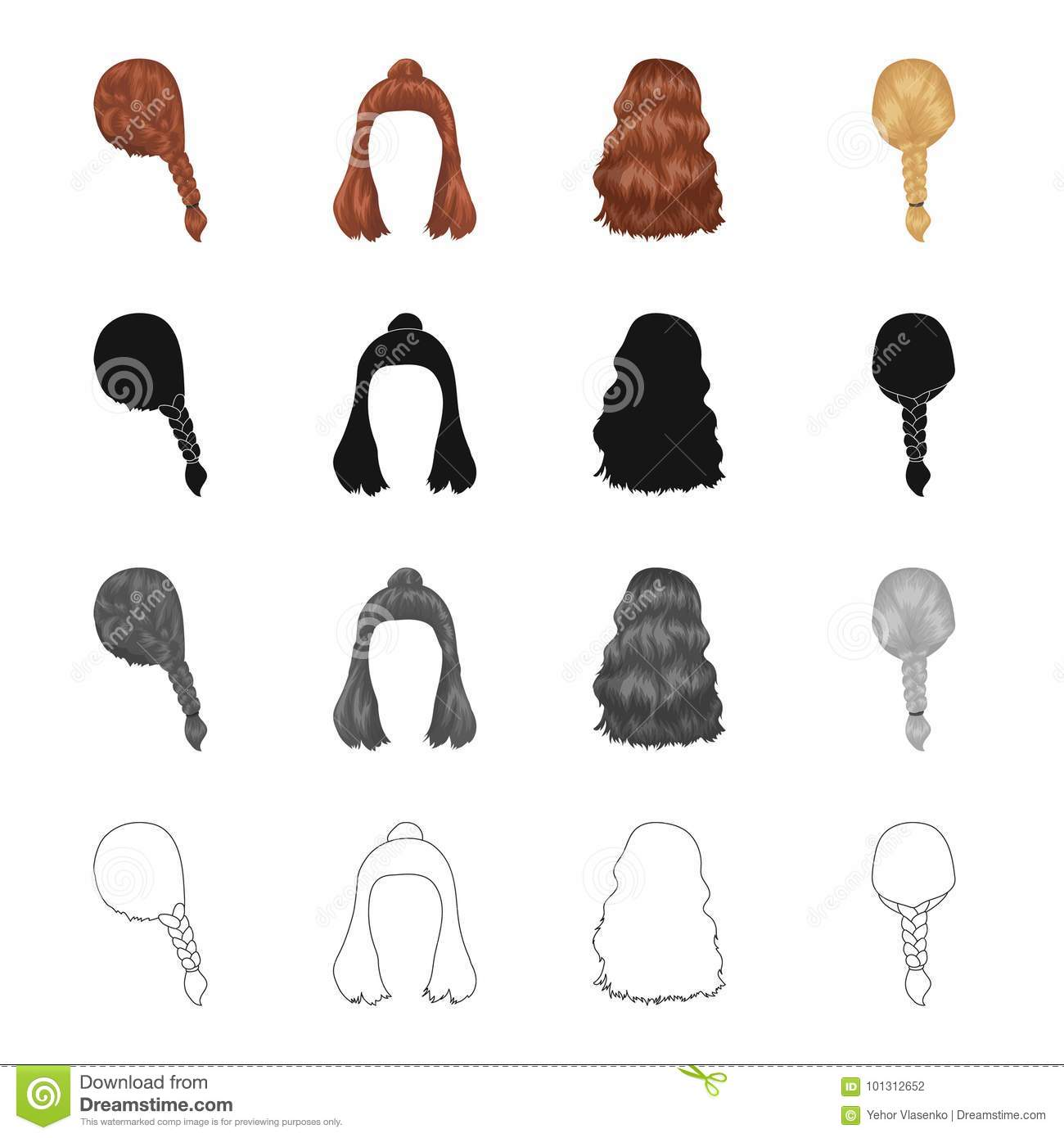 Hair Long Chignon And Other Web Icon In Cartoon Style Barbershop