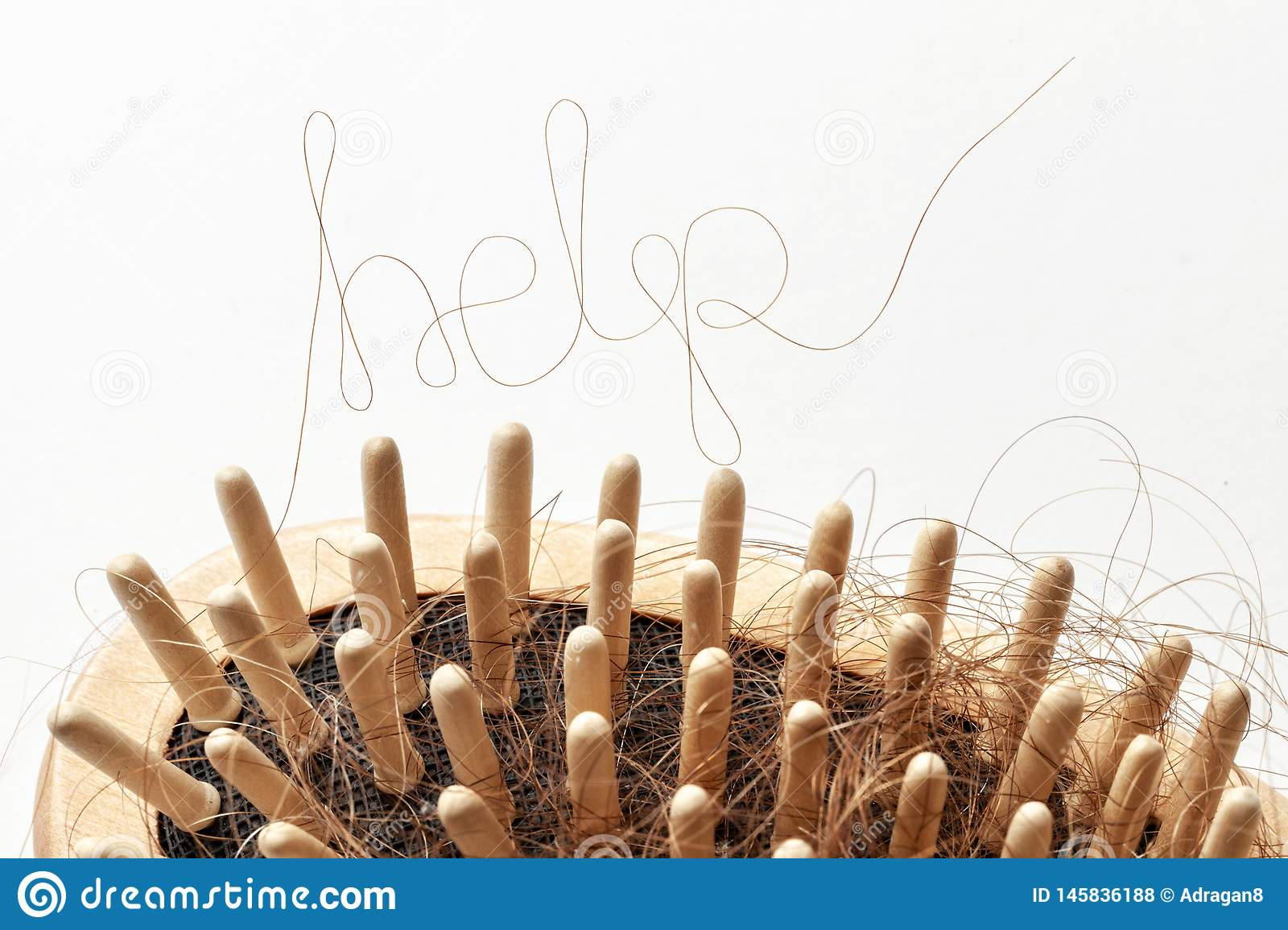 Hair Loss. Comb With Hair And Inscriptions HELP. Concept ...