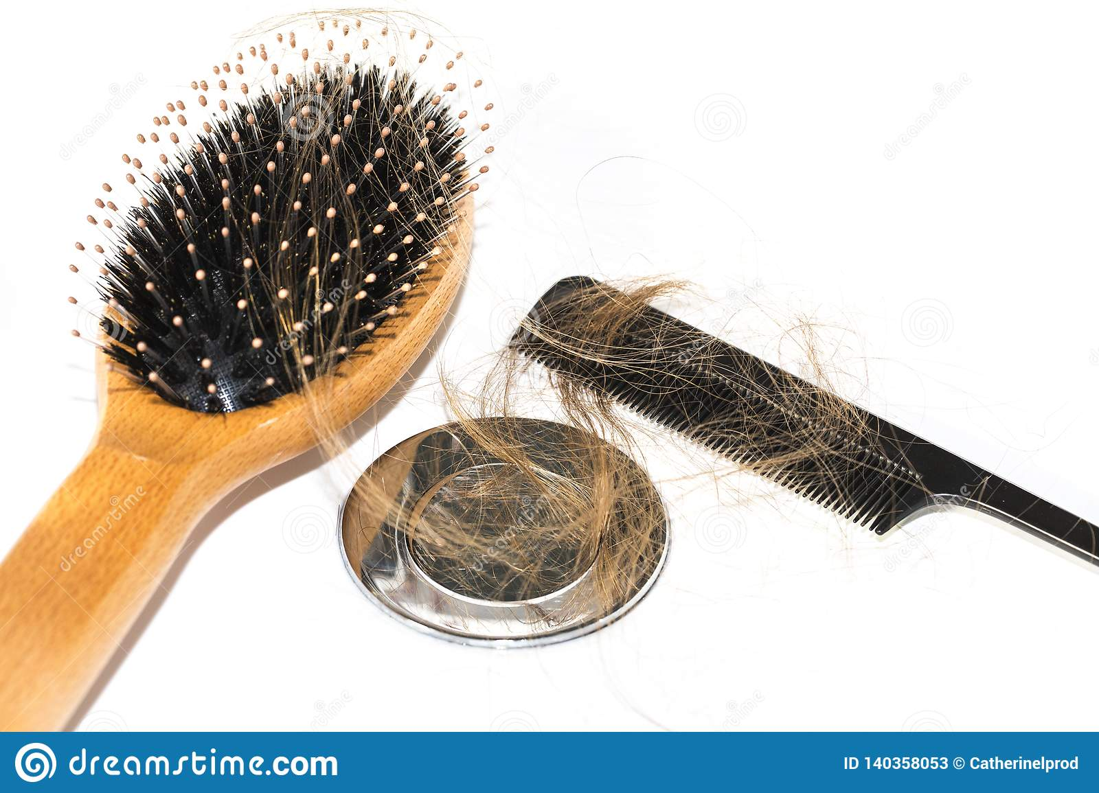 Hair Loss On Washbasin Long Brown Hair With Black Comb And Wood