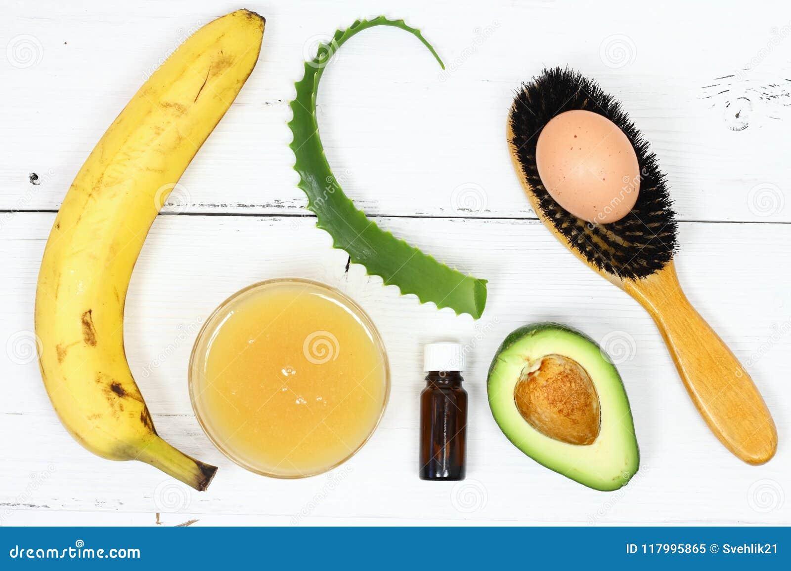 Hair Mask Fron Banana Honey Aloe Avocado Egg Stock Image Image