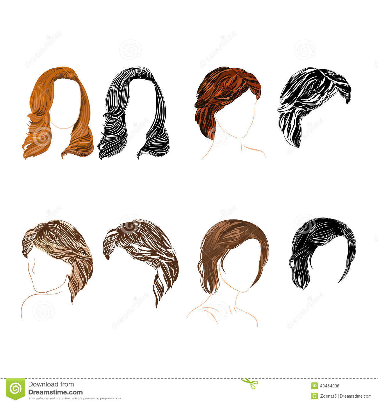 Hair Natural And Silhouette Vector Stock Vector Image