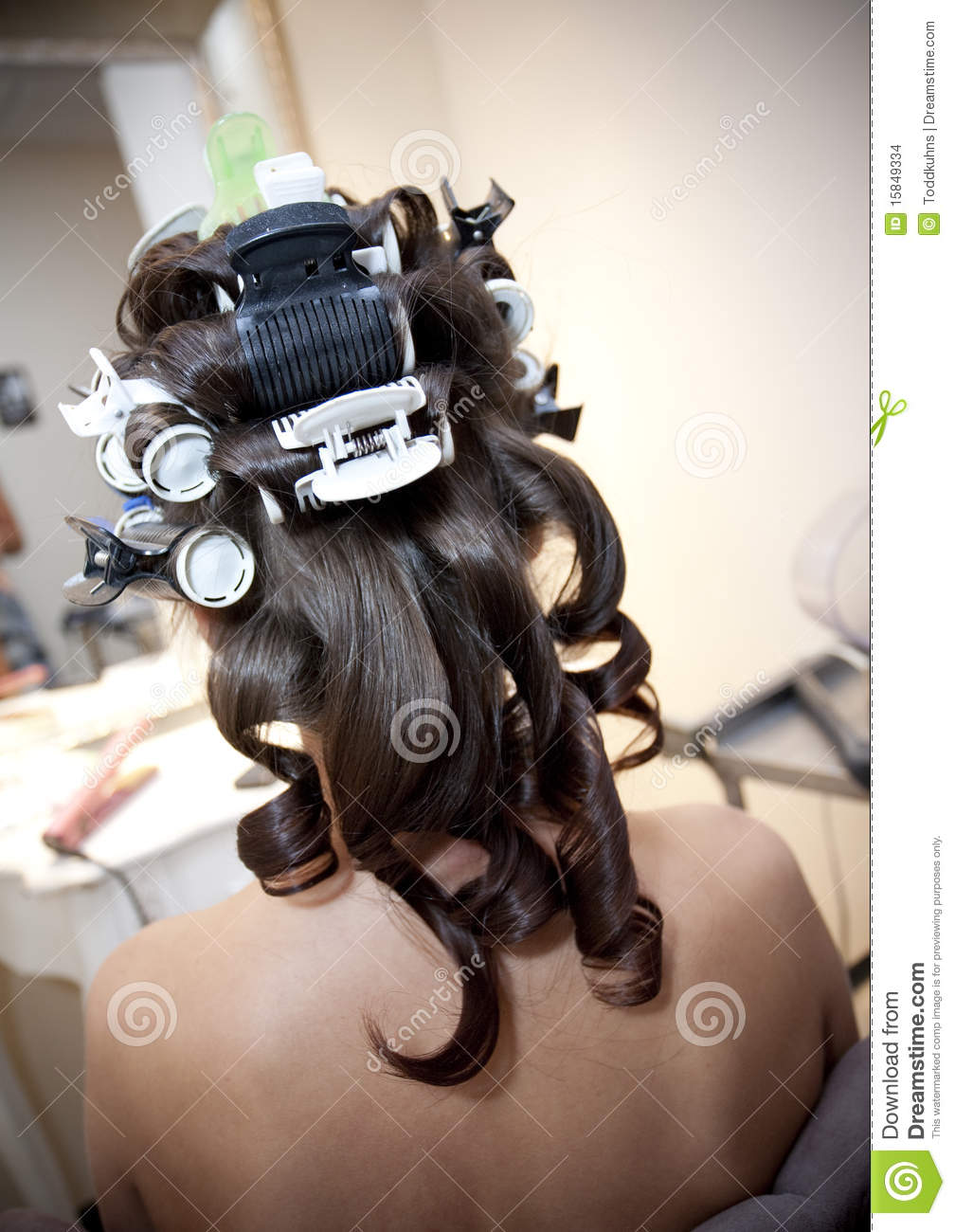 Hair in Rollers stock photo  Image of hair, hairroller