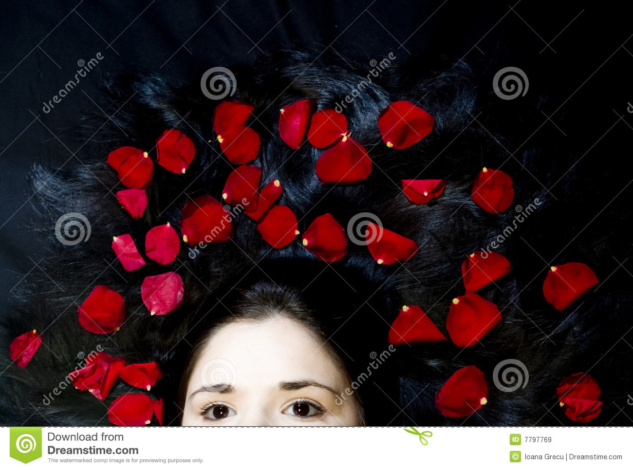 Hair with rose petals