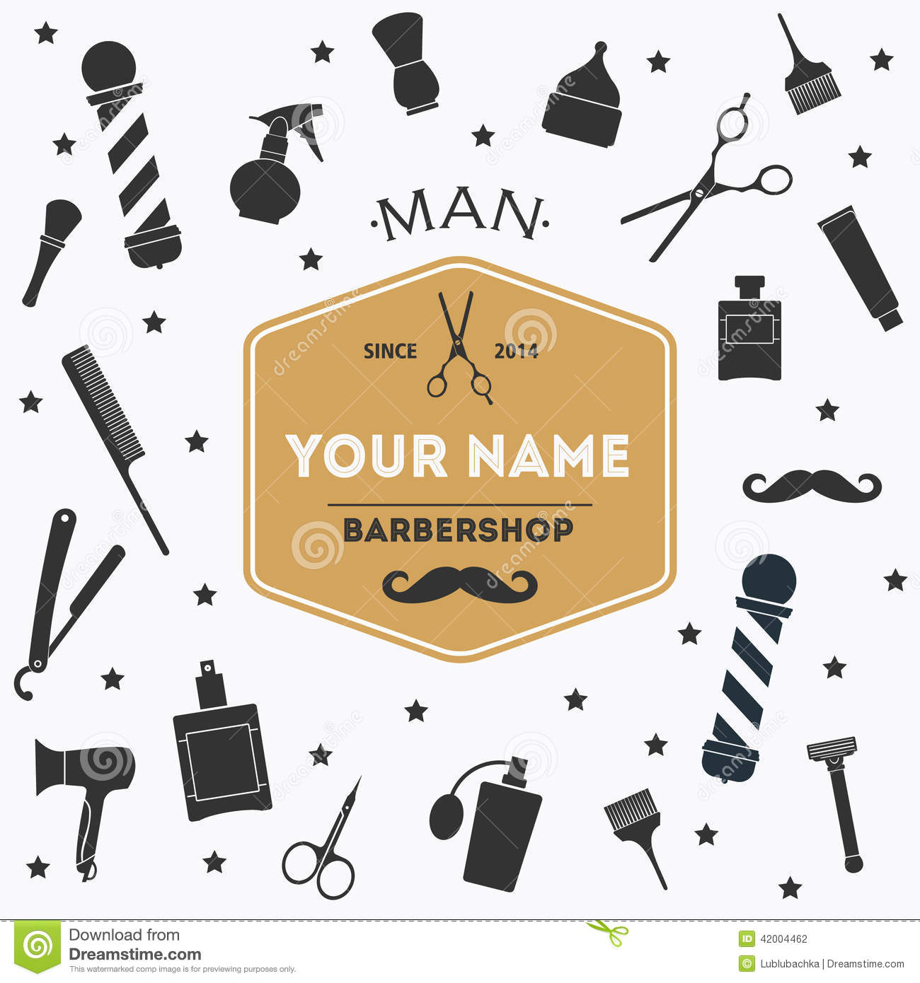 Hair Salon Barber Shop Background With Label Stock Vector