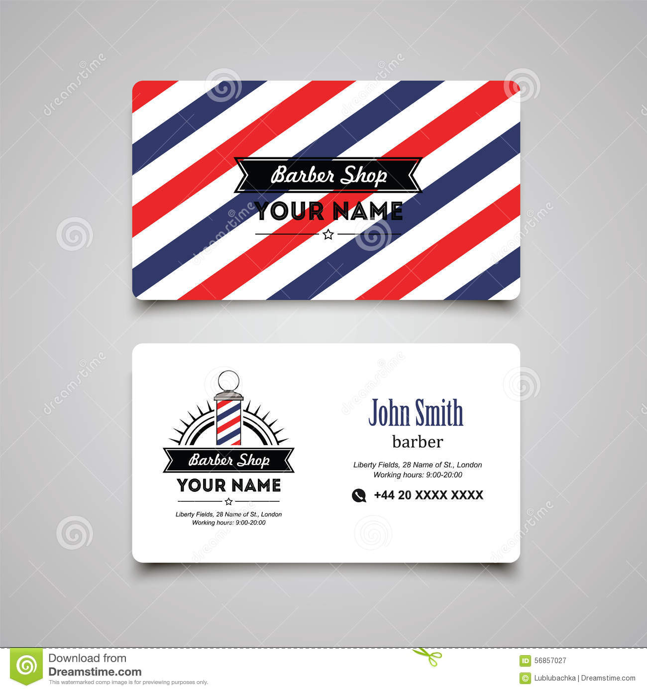 Hair salon barber shop business card design template stock vector hair salon barber shop business card design template reheart