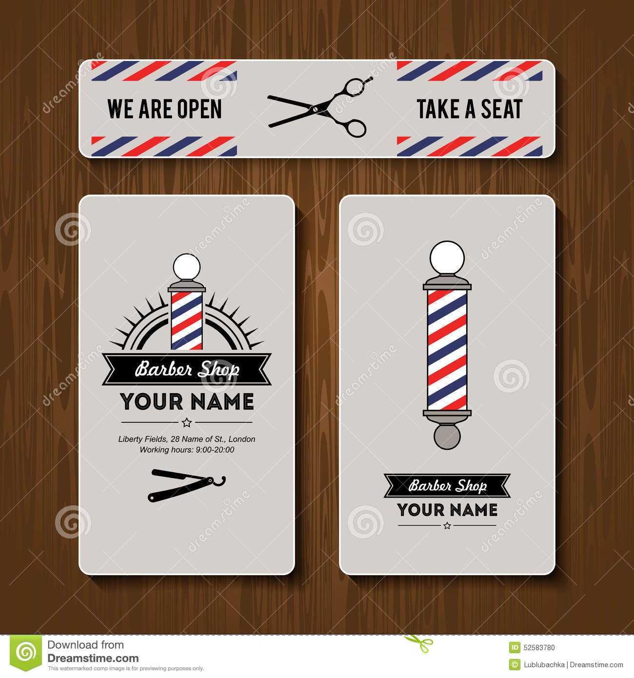 hair salon barber shop business card design template set stock illustration image 52583780. Black Bedroom Furniture Sets. Home Design Ideas