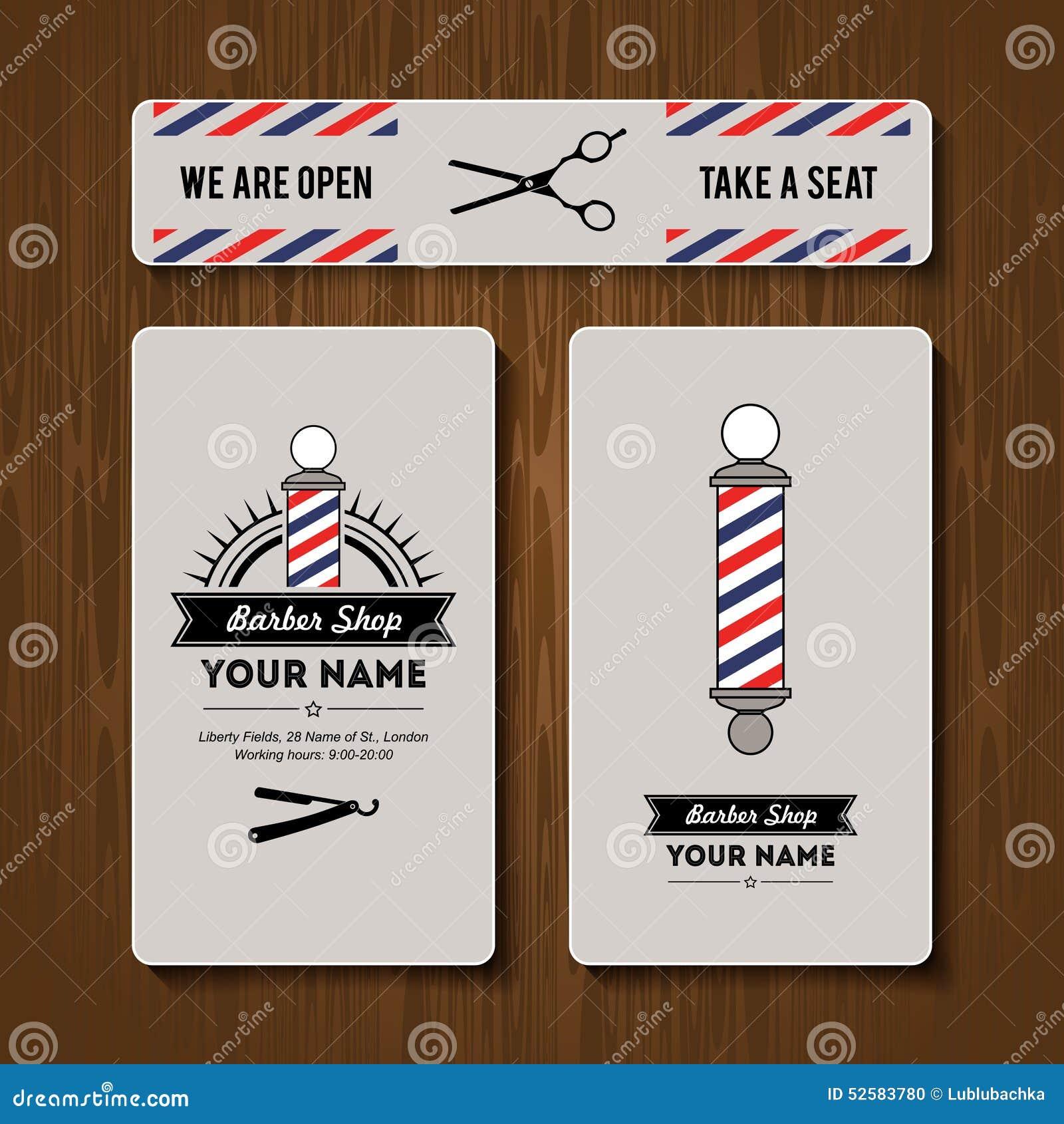 Hair Salon Barber Shop Business Card Design Template Set Stock ...