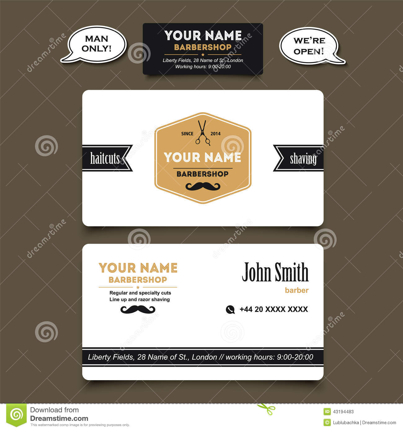 Hair Salon Barber Shop Business Card Design Template Stock Vector ...