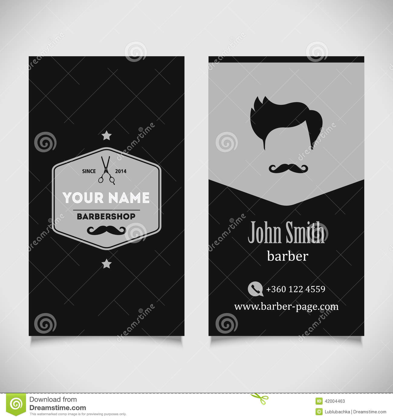 Hair Salon Barber Shop Business Card Design Stock Vector - Image ...