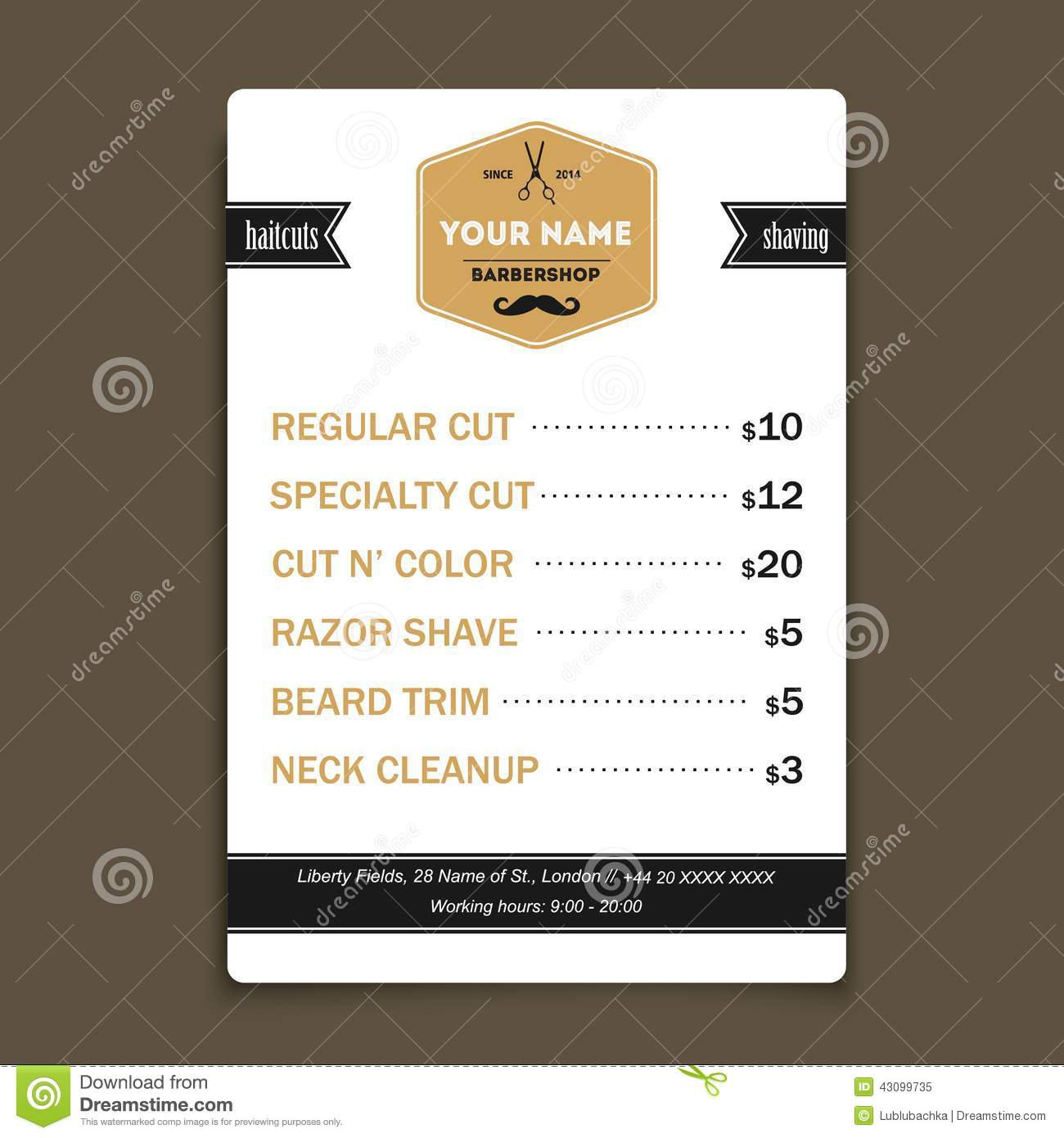 Hair salon barber shop services list design template stock vector hair salon barber shop services list design template wajeb Image collections