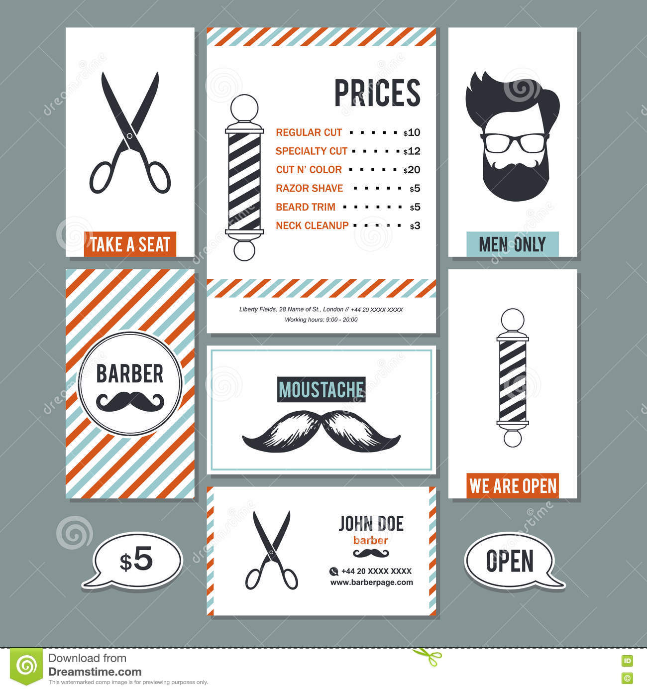 hair salon barber shop vintage sign and services prices design t
