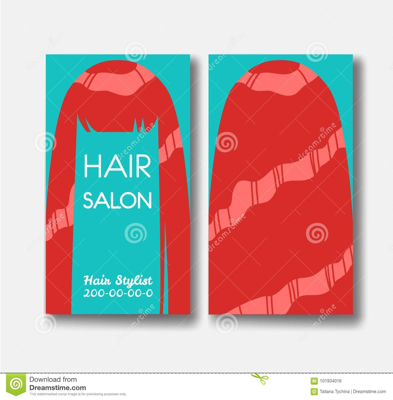 Hair salon business card templates with red hair on green backgr download hair salon business card templates with red hair on green backgr stock vector illustration accmission Choice Image