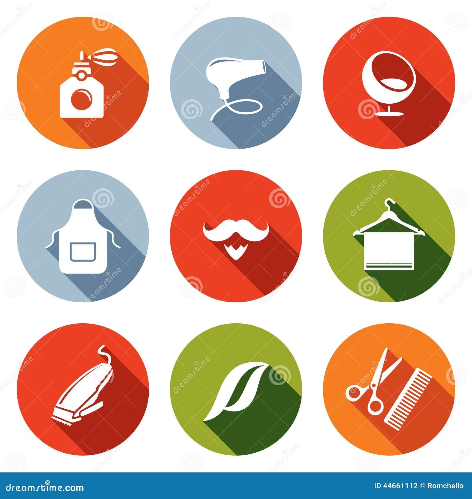hair salon flat icon collection stock illustration image