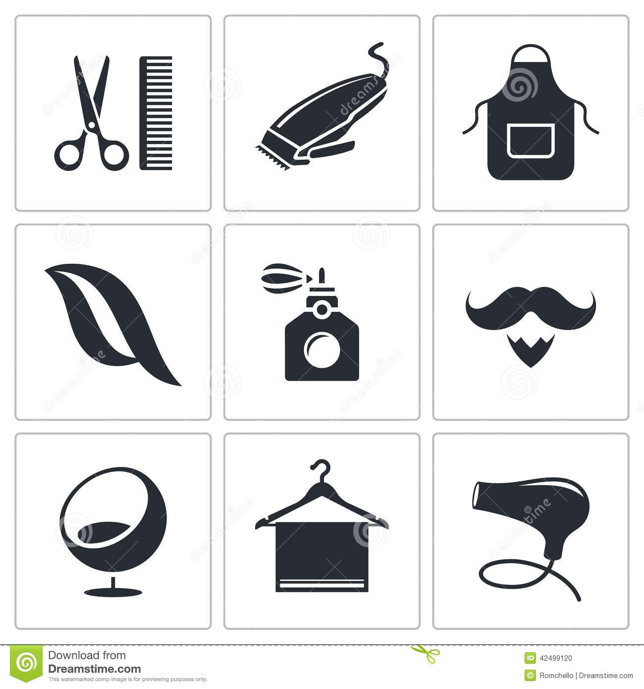 Flat Design Vector Illustration of Stylist with Icon Set ...