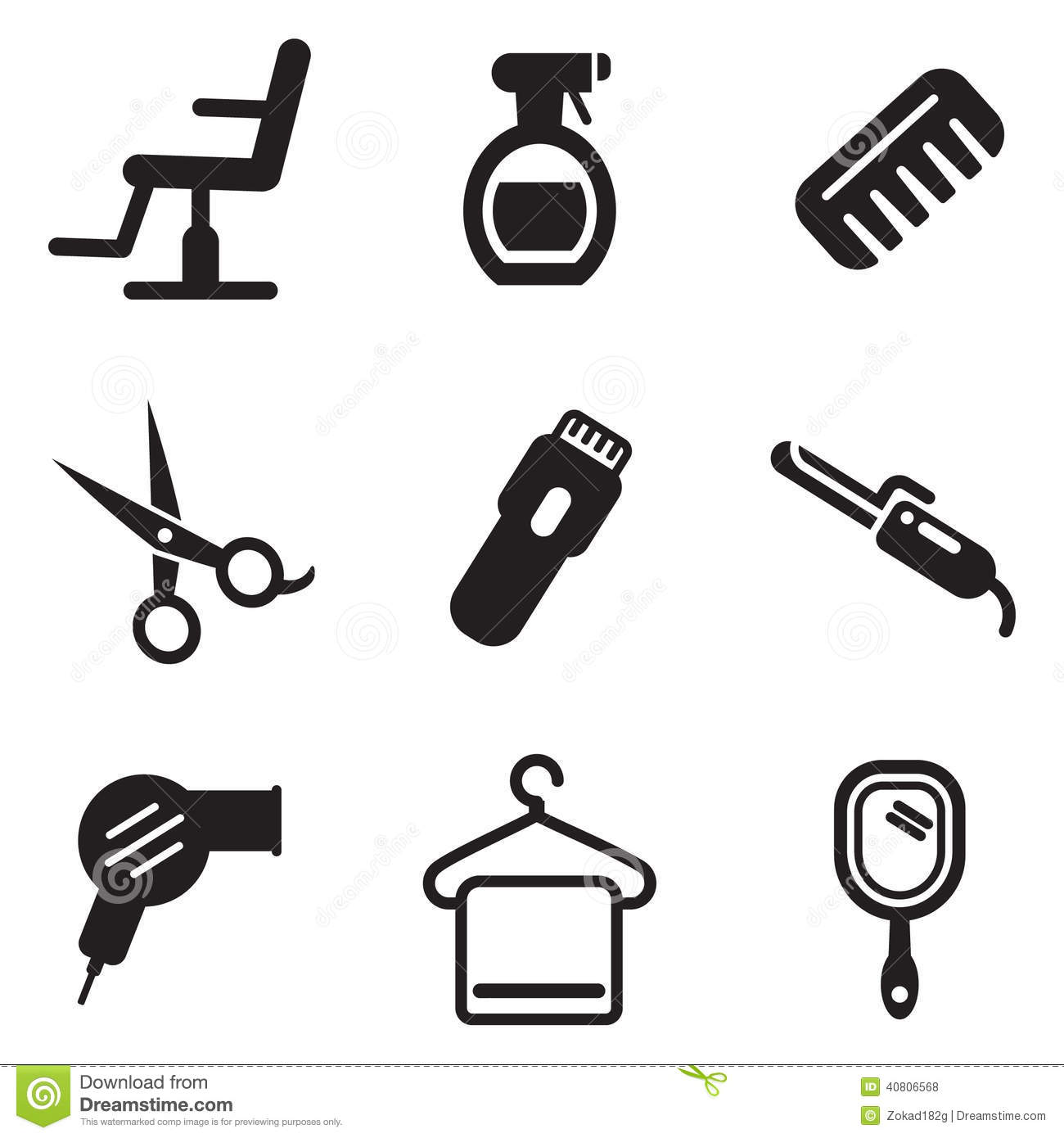 Hair Salon Icons stock vector. Image of brush, hairstyle ...