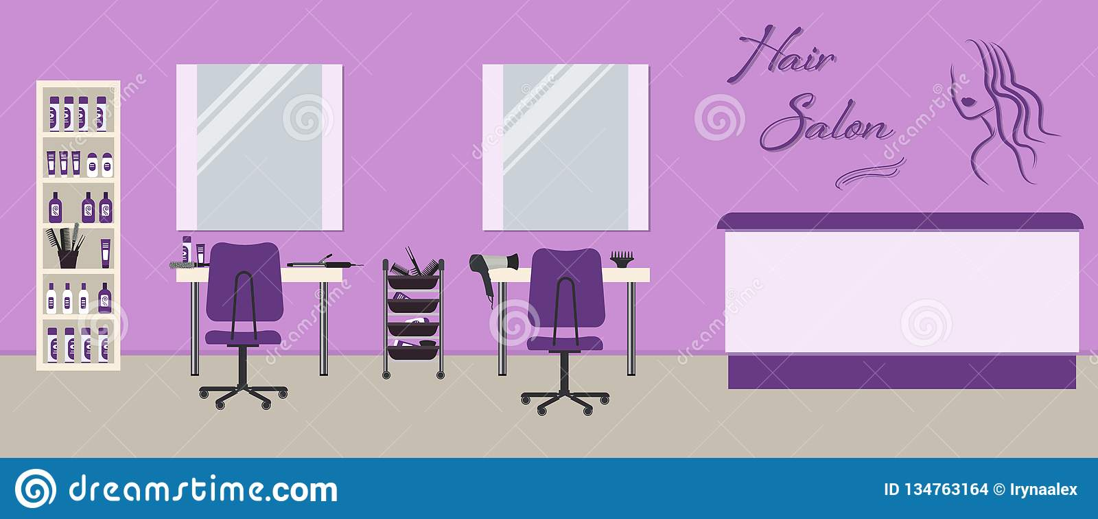 Hair Salon Interior In A Purple Color Beauty Salon Stock Vector