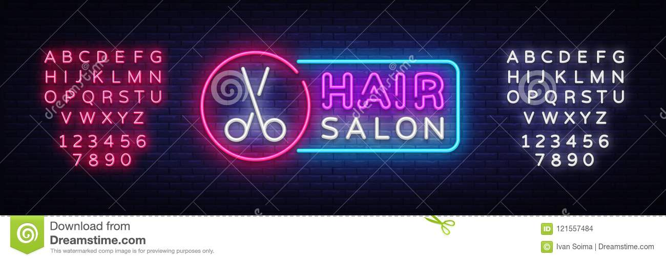Hair Salon Neon Sign Vector  Hairdress Design Template Neon