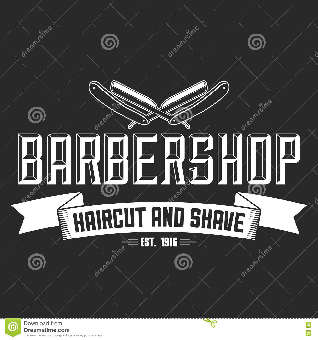 Hair Salon Vector Labels In Vintage Style Hair Cut Beauty And