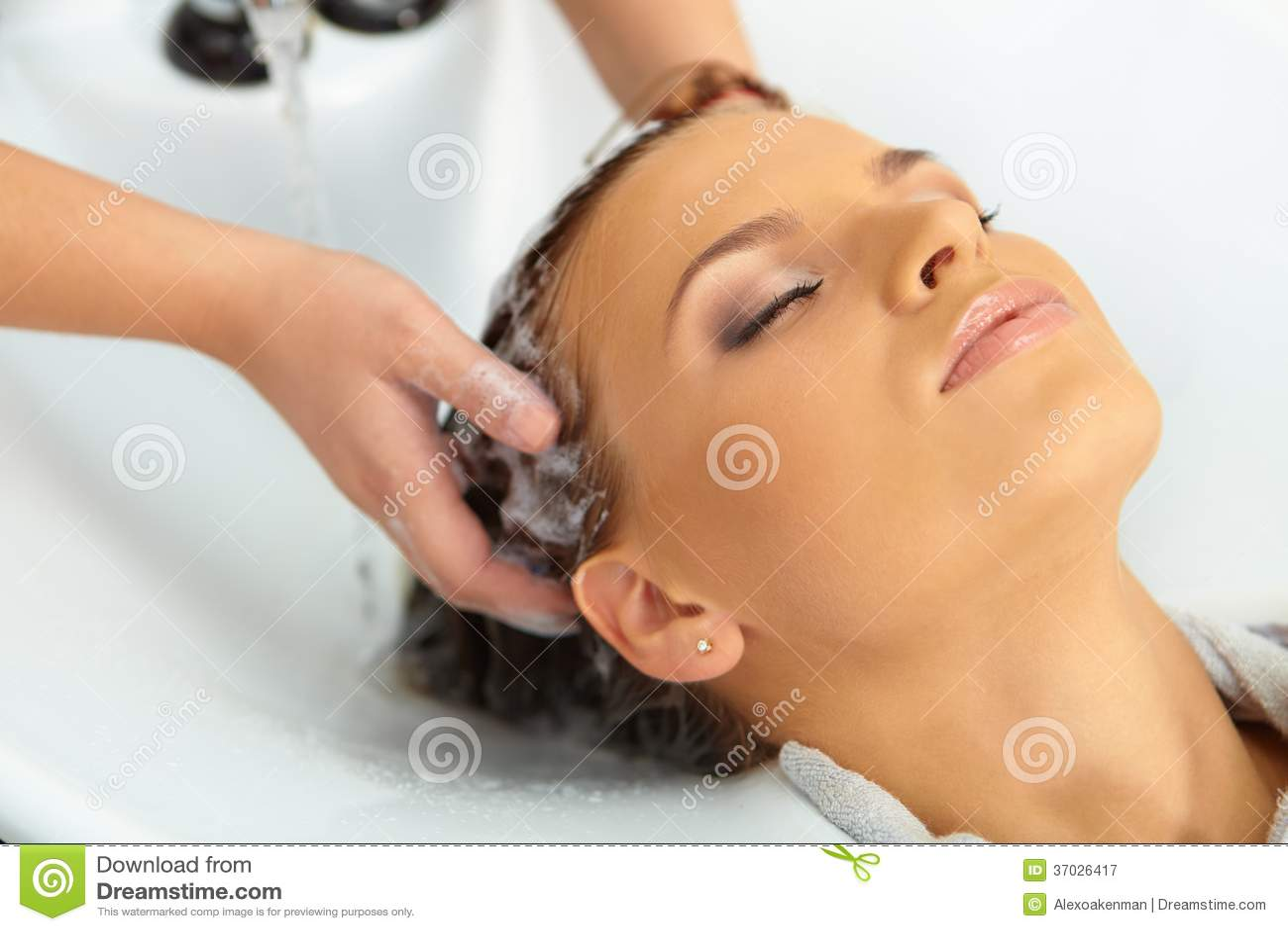Hair salon washing with shampoo royalty free stock for Wash hair salon