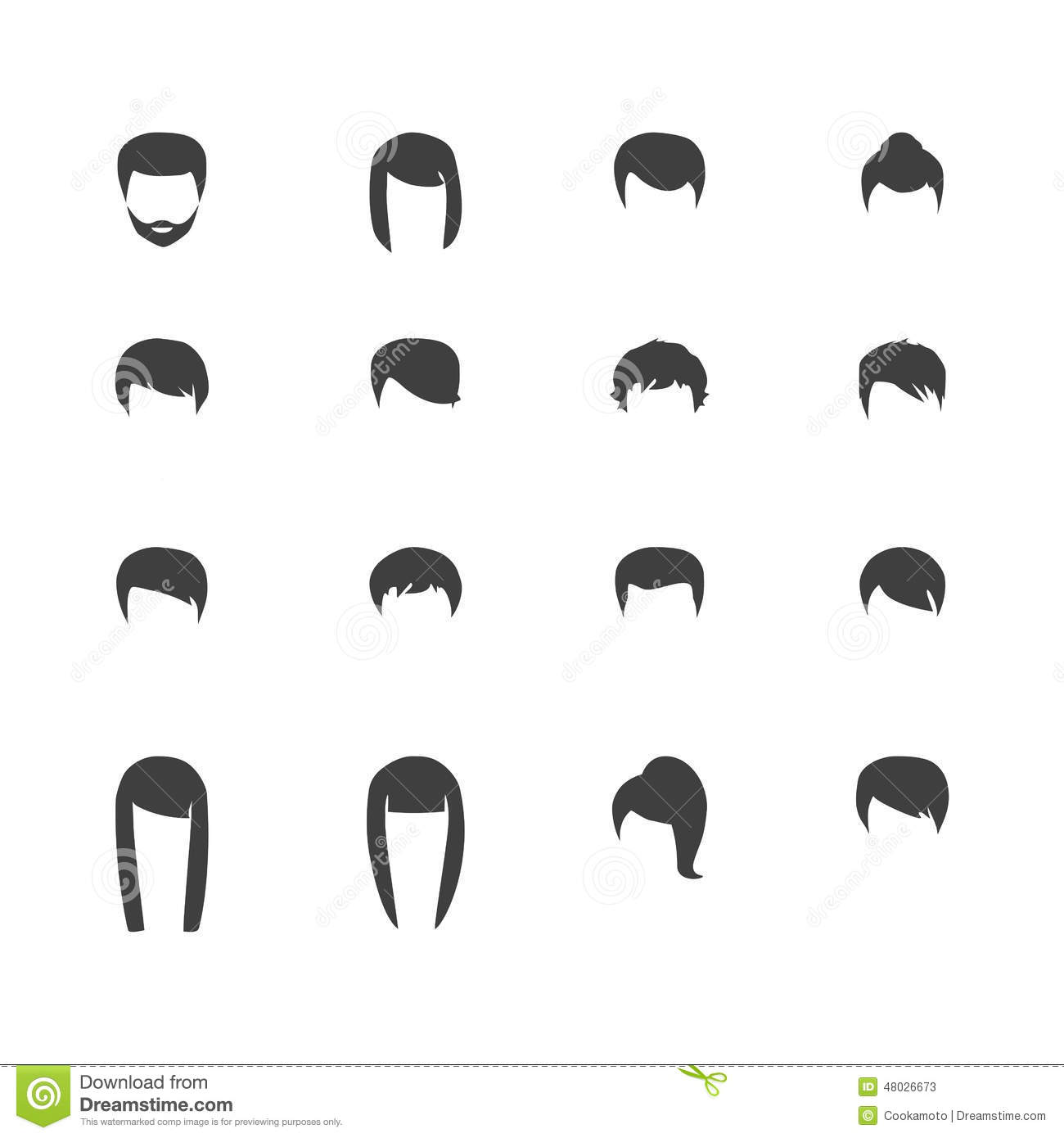 Mens Hairstyle Silhouette Hair, vector hairstyle stock vector - image ...