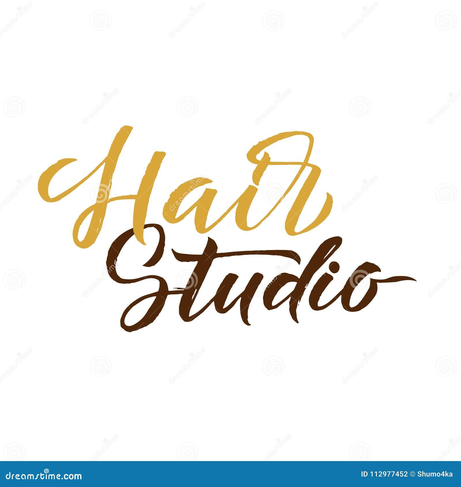 Hair Studio. Logo Beauty Vector Lettering. Custom handmade calligraphy. Vector Illustration