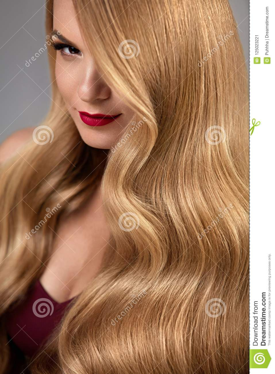 Hair Style Beautiful Woman With Healthy Wavy Long Blonde Hair Stock