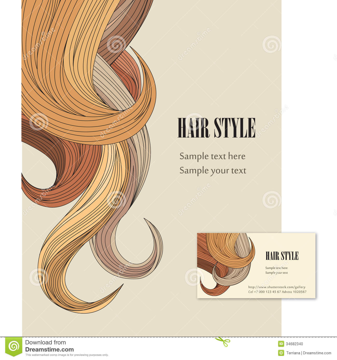Hair Style Vector Set Poster And Visit Card Stock Photo