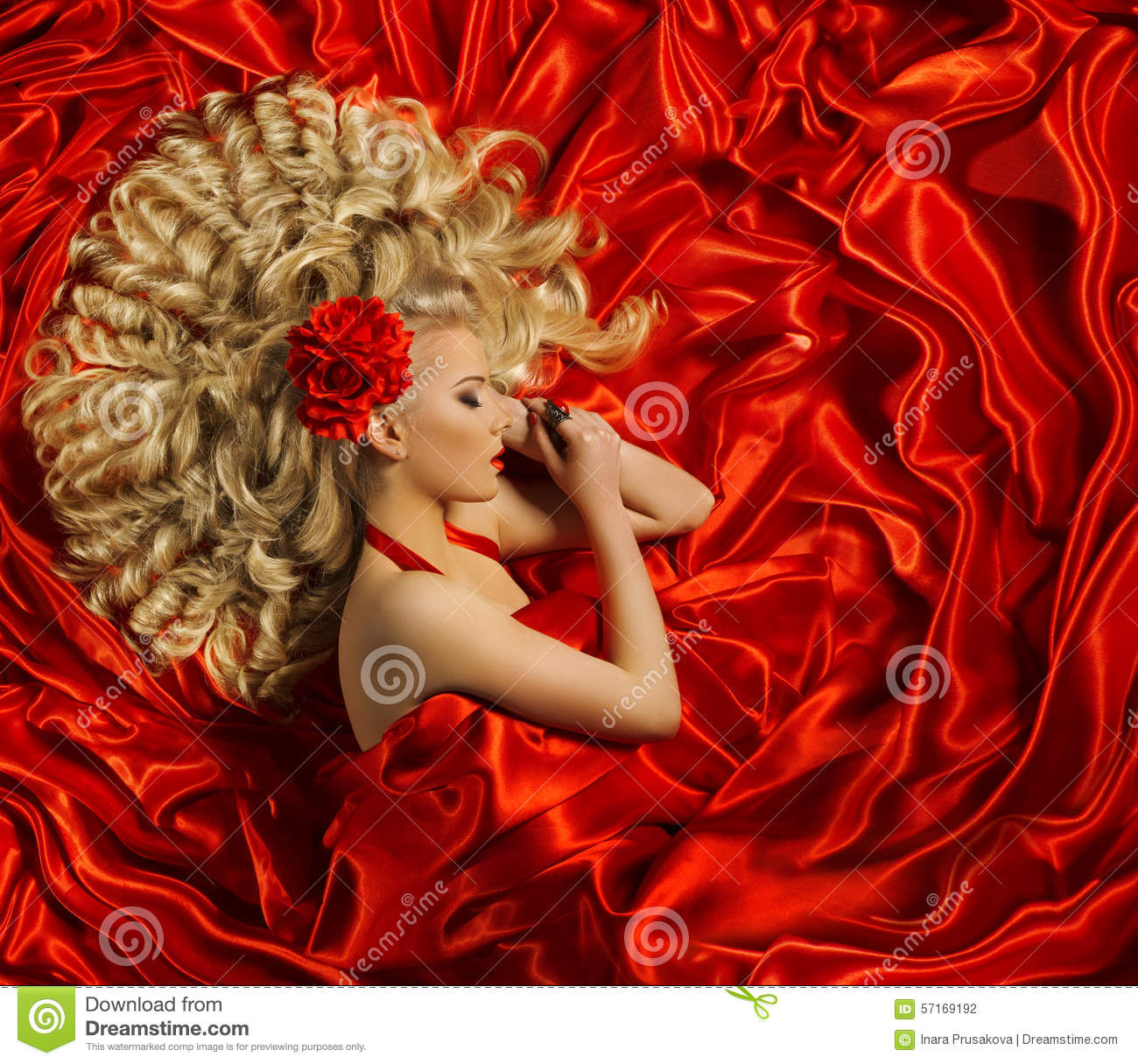 Hair Style Woman Curly Hairstyle Fashion Model On Red Color Stock