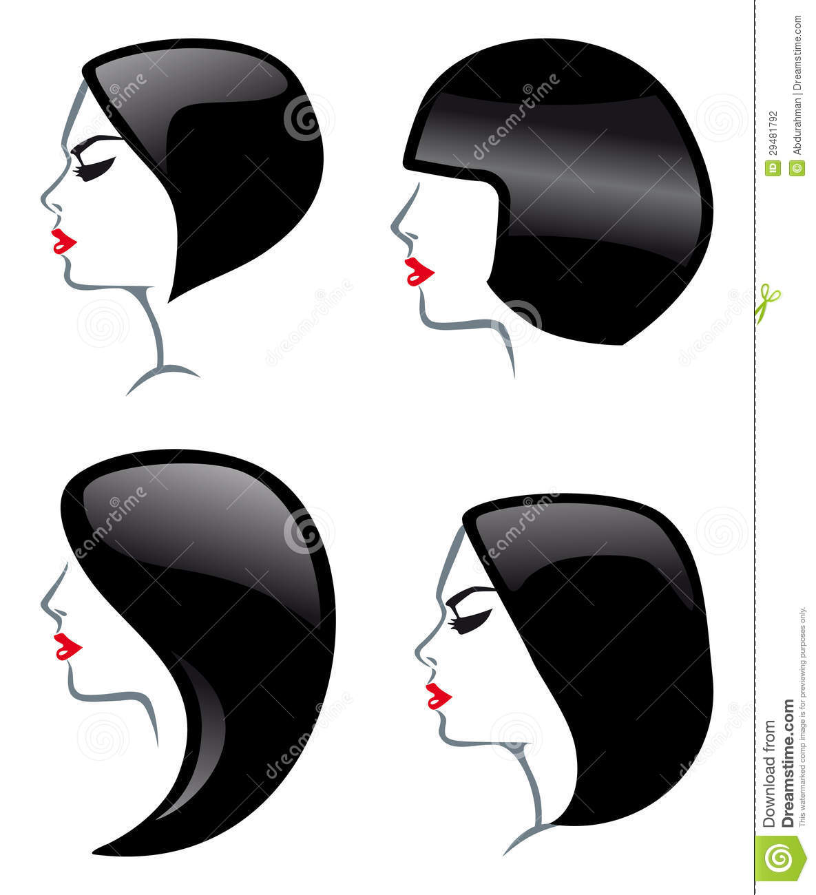 Hair Style Icons : Hair Styles Icons Stock Photography - Image: 29481792