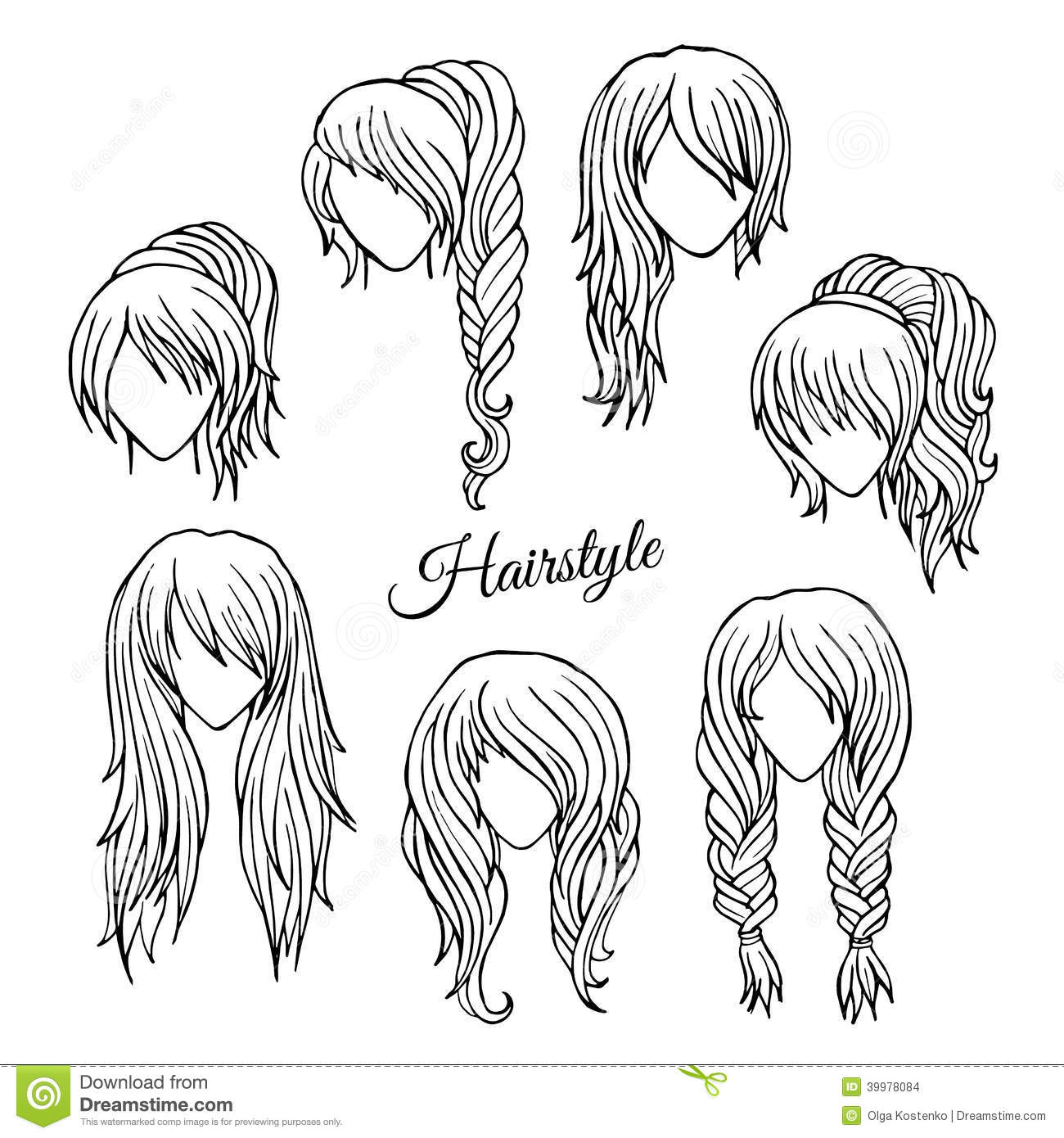 Hair Styles Sketch Vector Set Stock Vector Illustration Of Curls