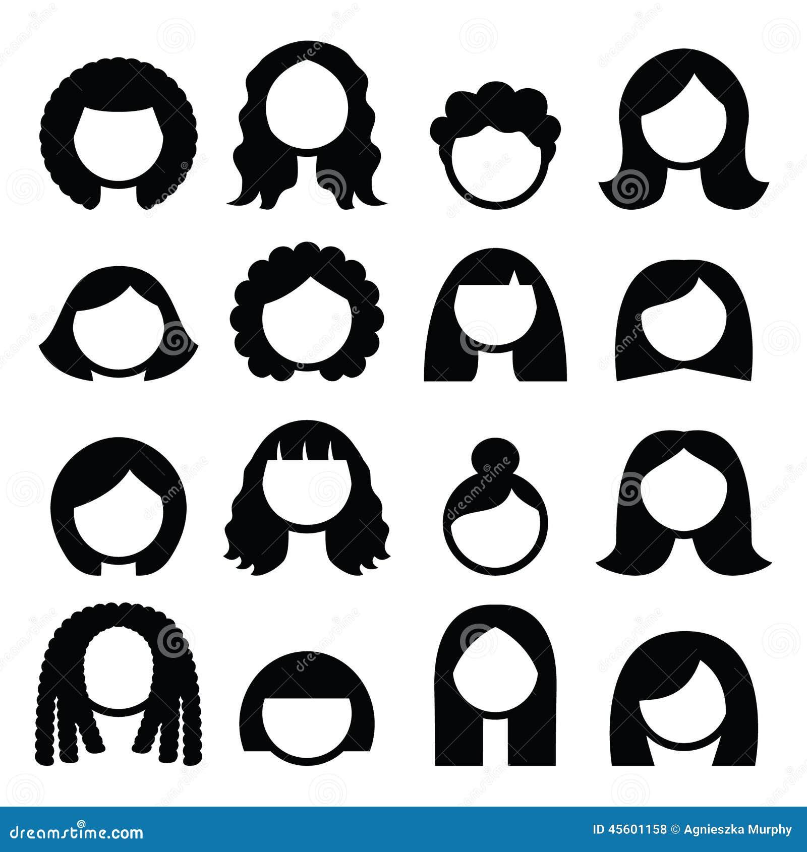 Hair Styles, Wigs Icons Set - Women Stock Illustration ...