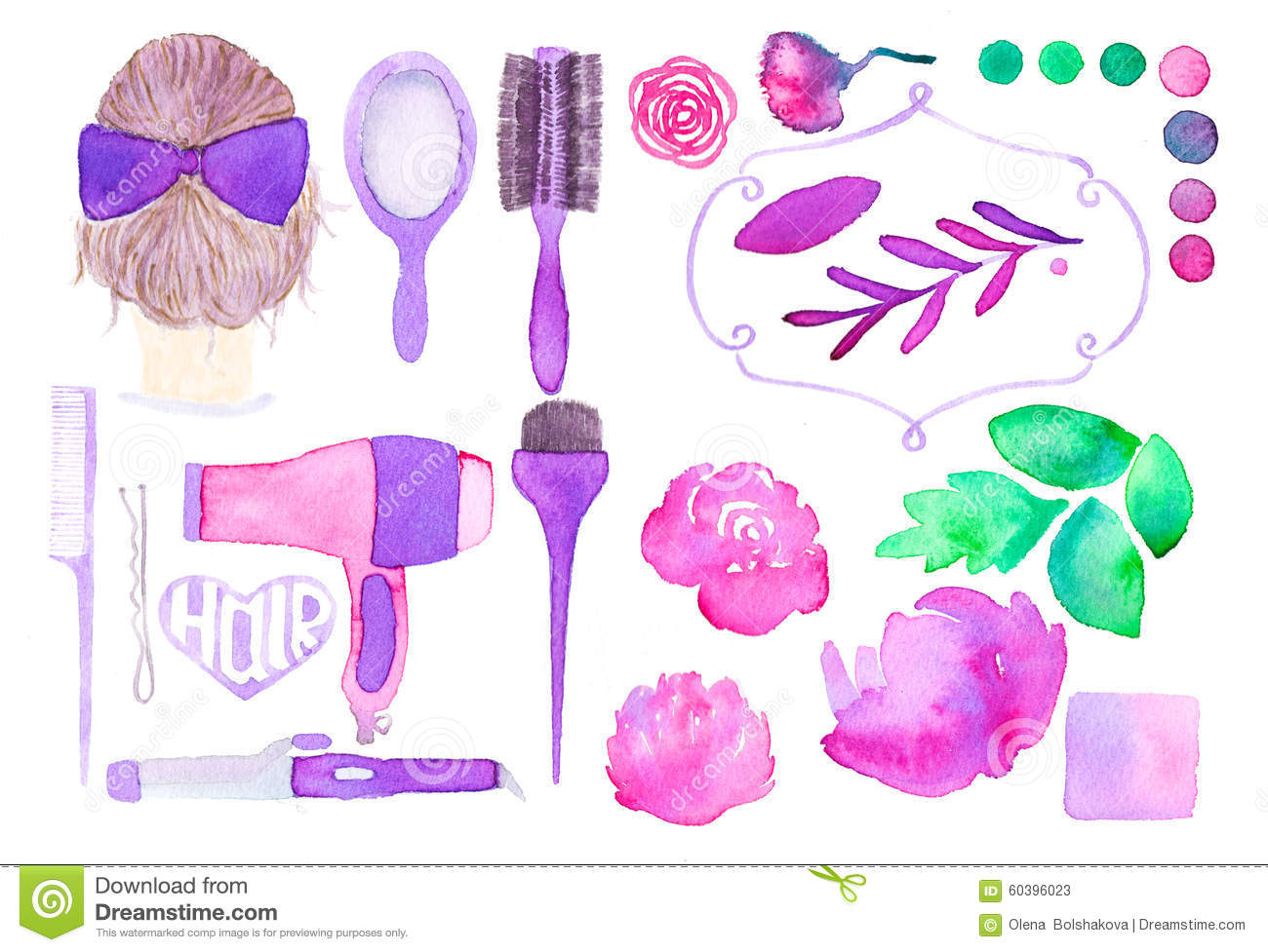 hair styling set hair styling and floral decor set of different 2126
