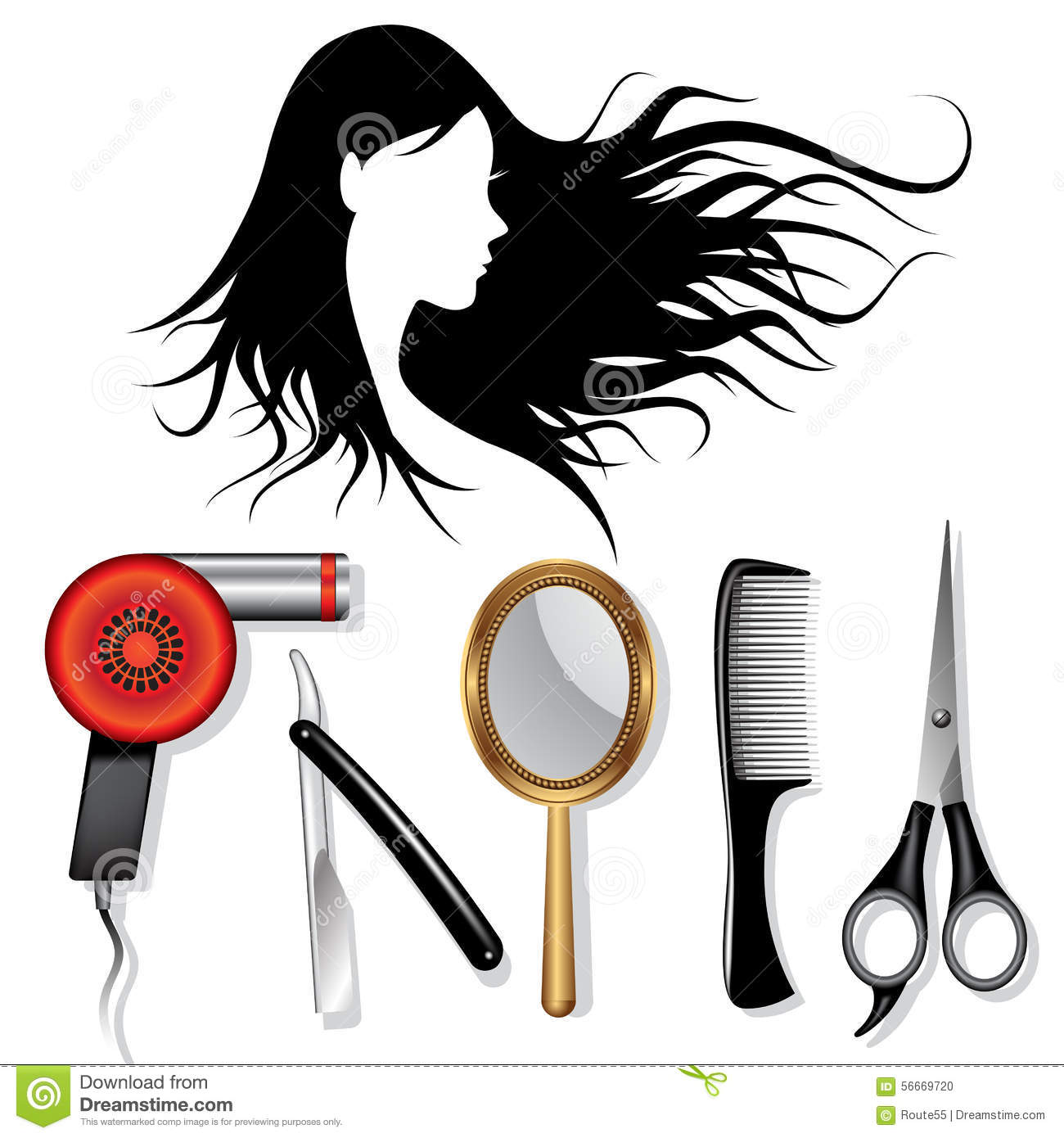 Hair styling tools stock vector illustration of icon for Accessories for beauty salon