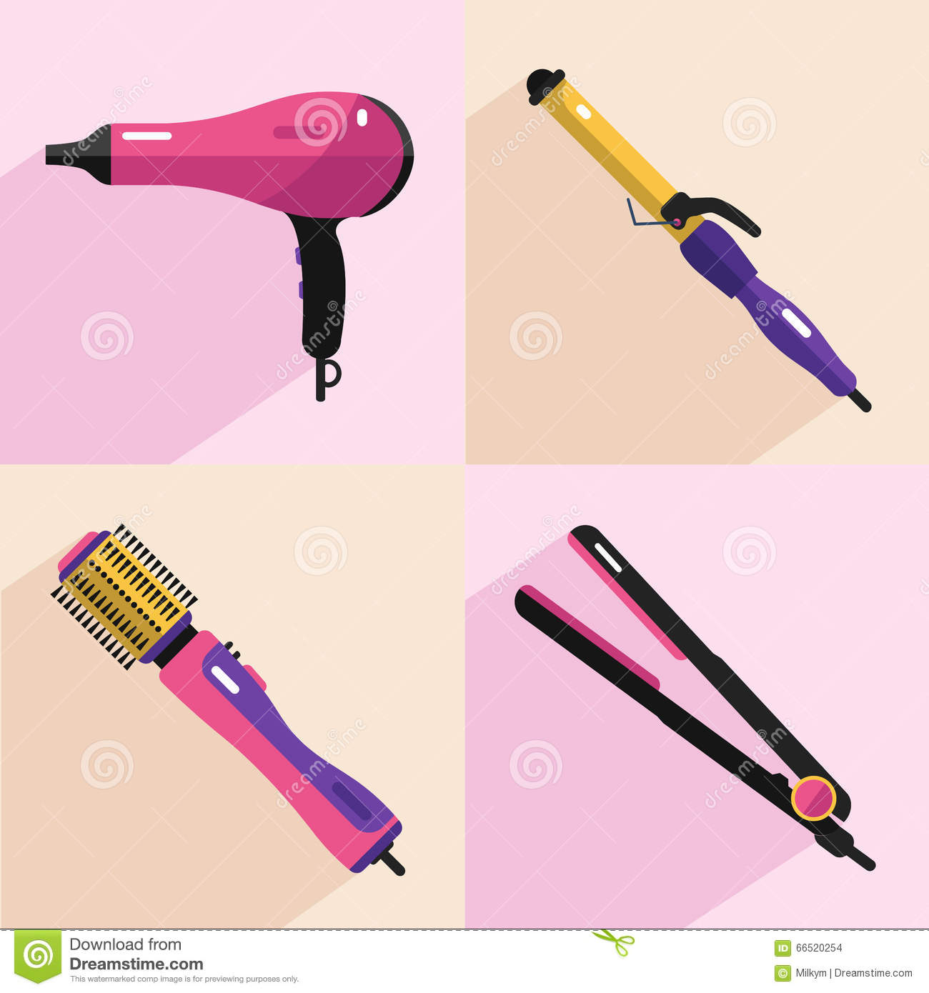 hair styling tools set hair styling tools icons stock vector image 66520254 5819
